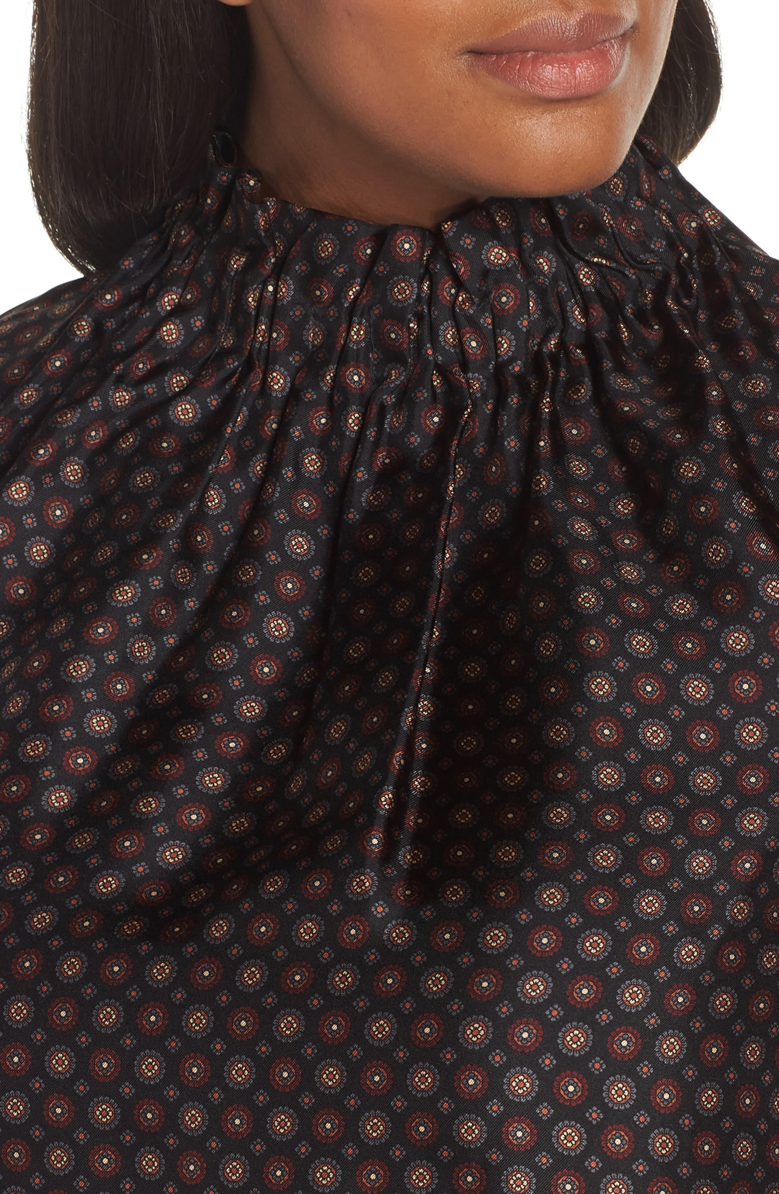 Percy Ruffle Neck Silk Blouse,                             Alternate thumbnail 11, color,                             INK MULTI