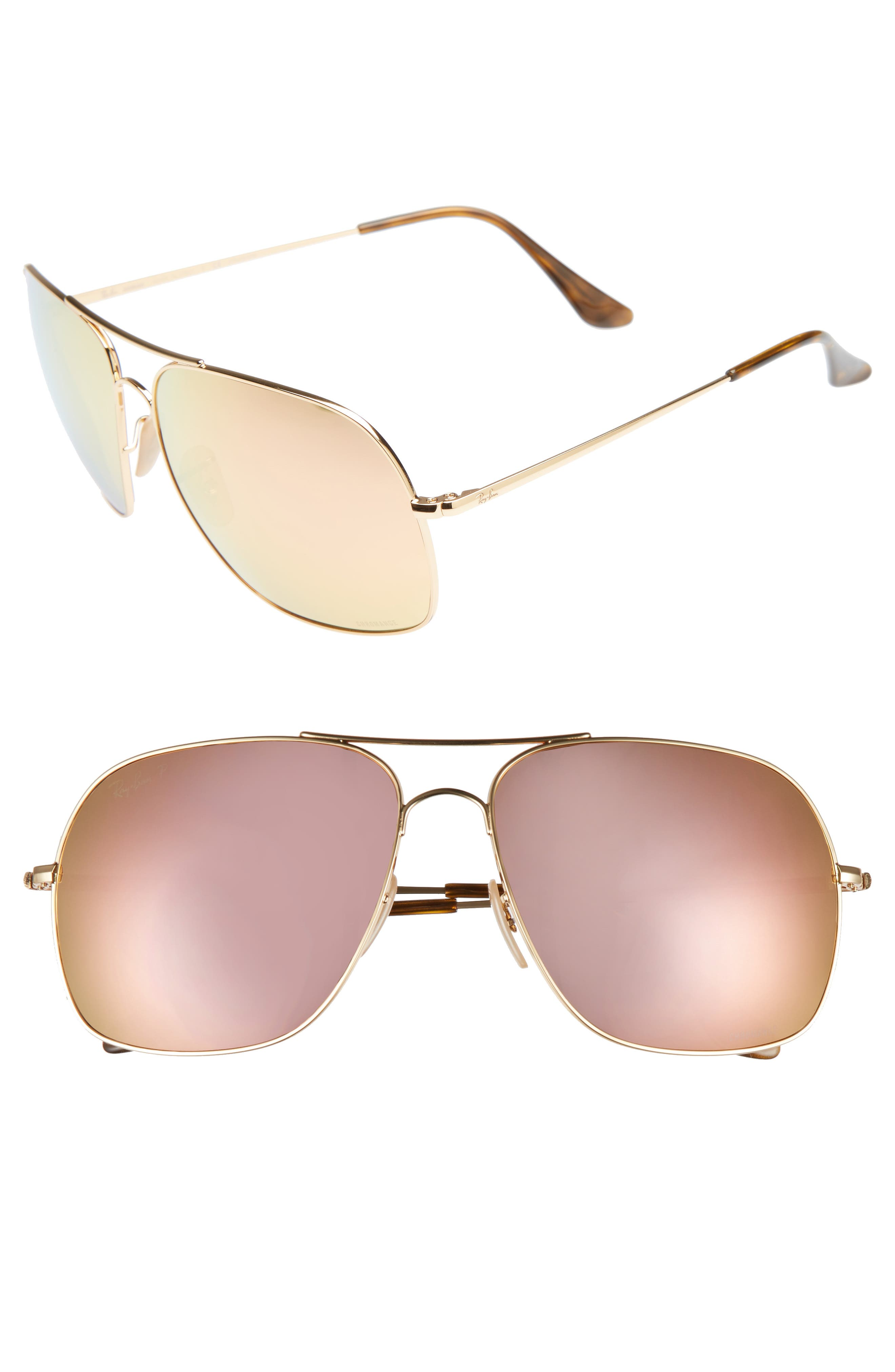 61mm Mirrored Lens Polarized Aviator Sunglasses,                             Main thumbnail 2, color,