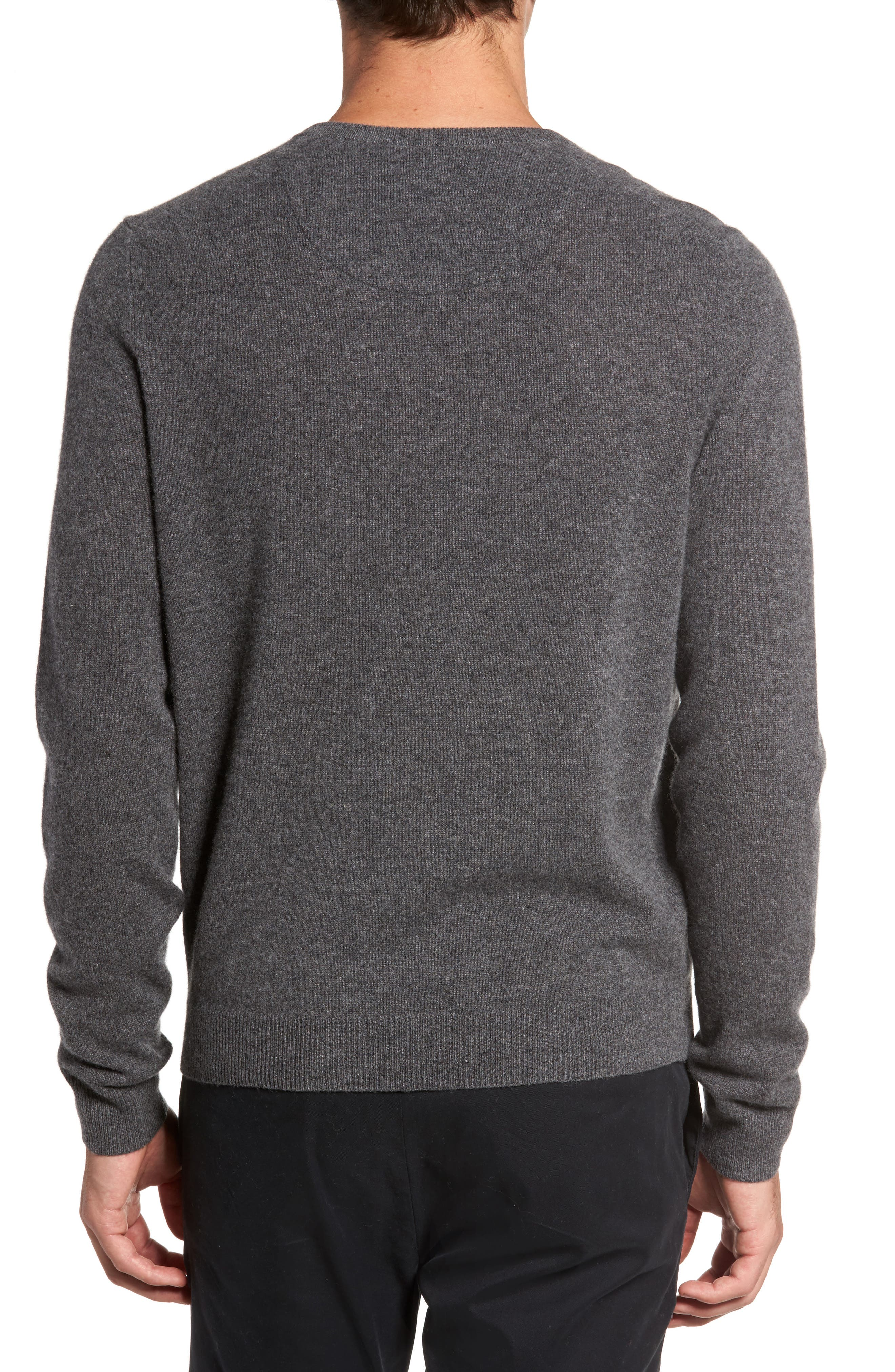 Cashmere V-Neck Sweater,                             Alternate thumbnail 2, color,                             GREY SHADE