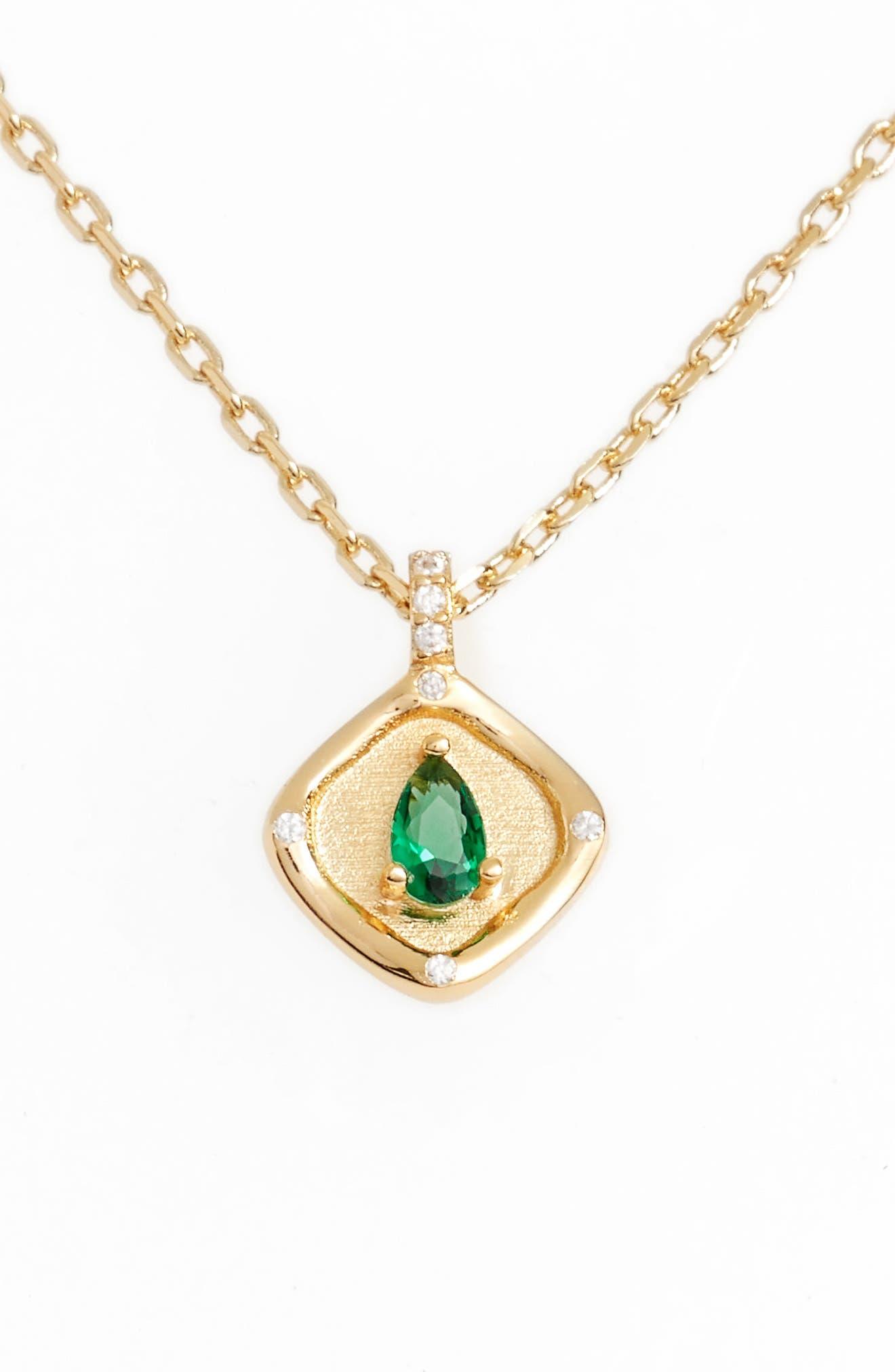 Teardrop Monthstone Pendant Necklace,                             Main thumbnail 1, color,                             300