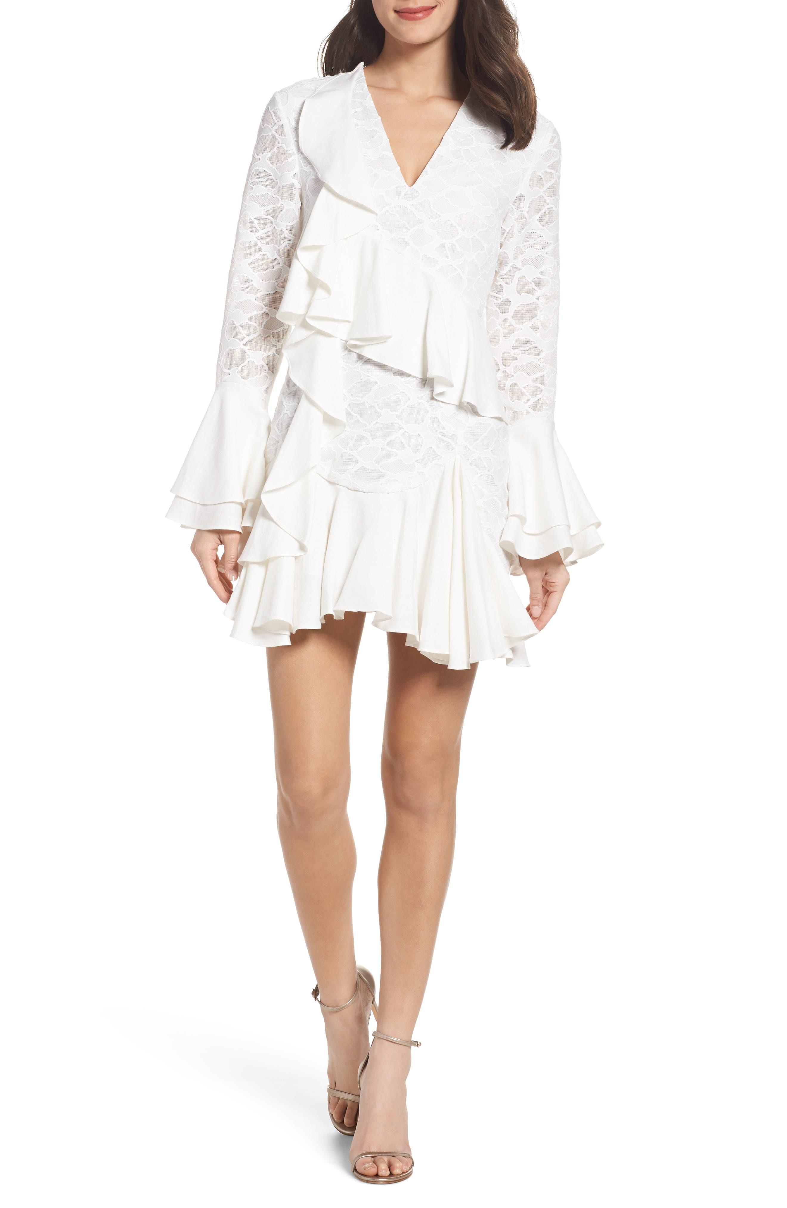 Phase Ruffle Lace Minidress,                         Main,                         color, 902