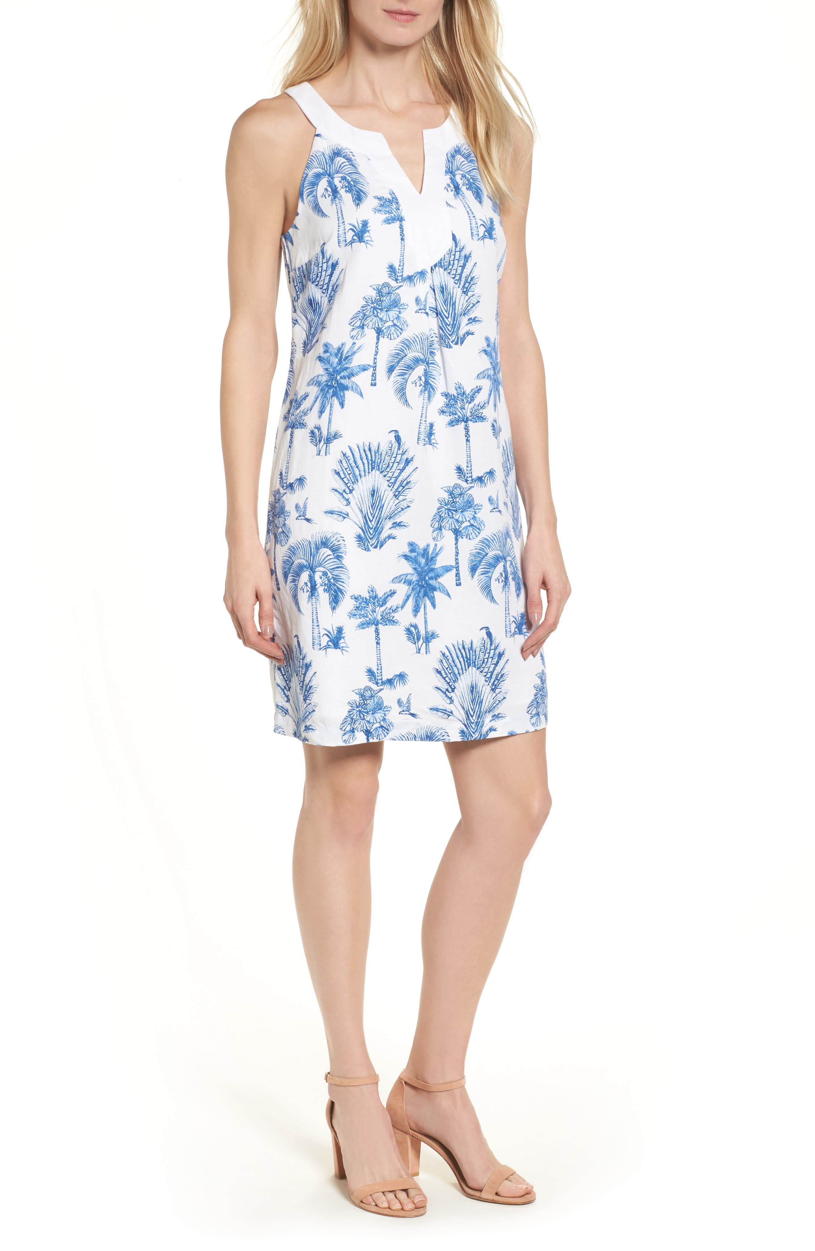 Having a Toile Shift Dress,                         Main,                         color, DOCKSIDE BLUE