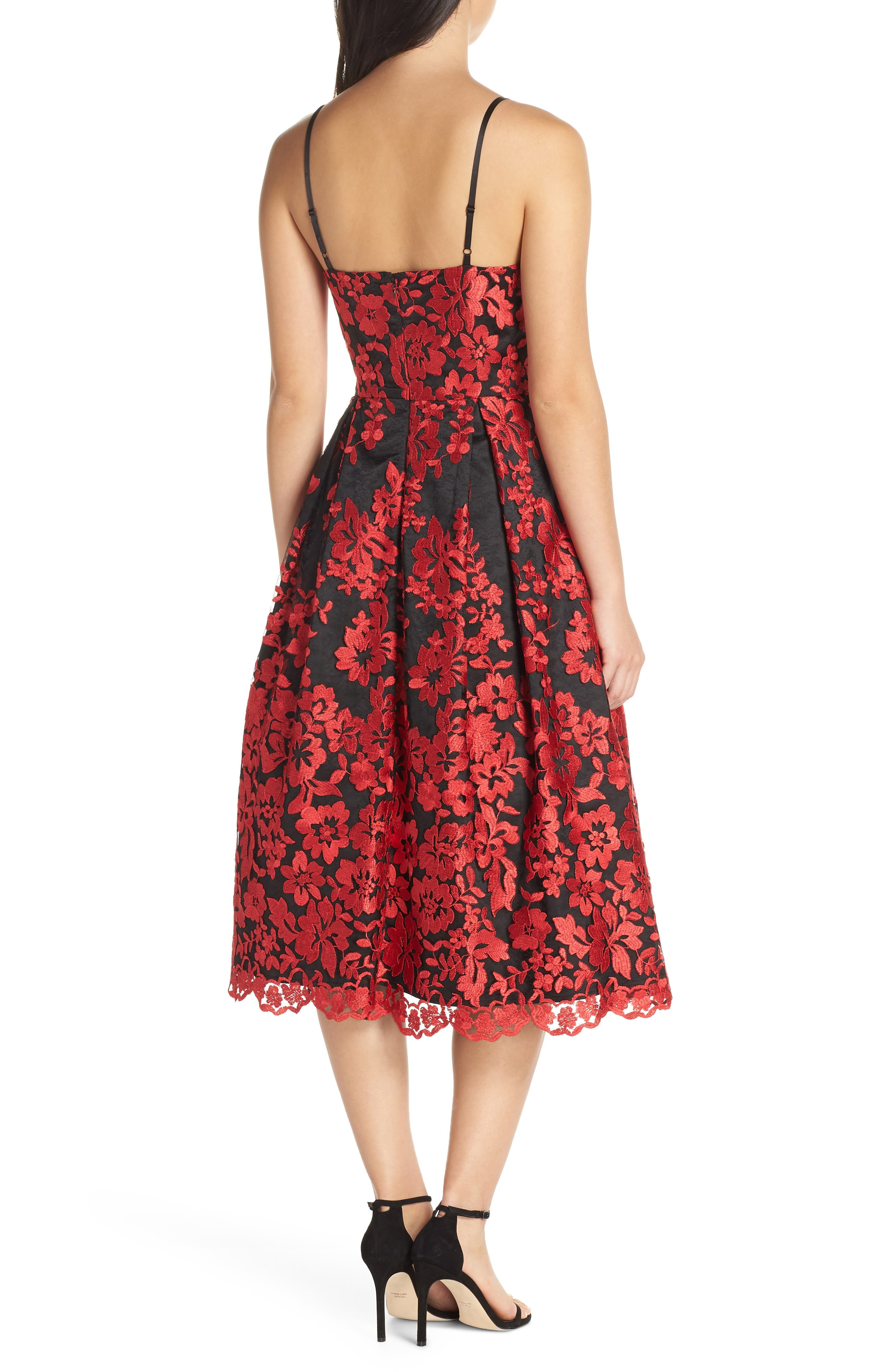 Lace Fit & Flare Dress,                             Alternate thumbnail 2, color,                             RED