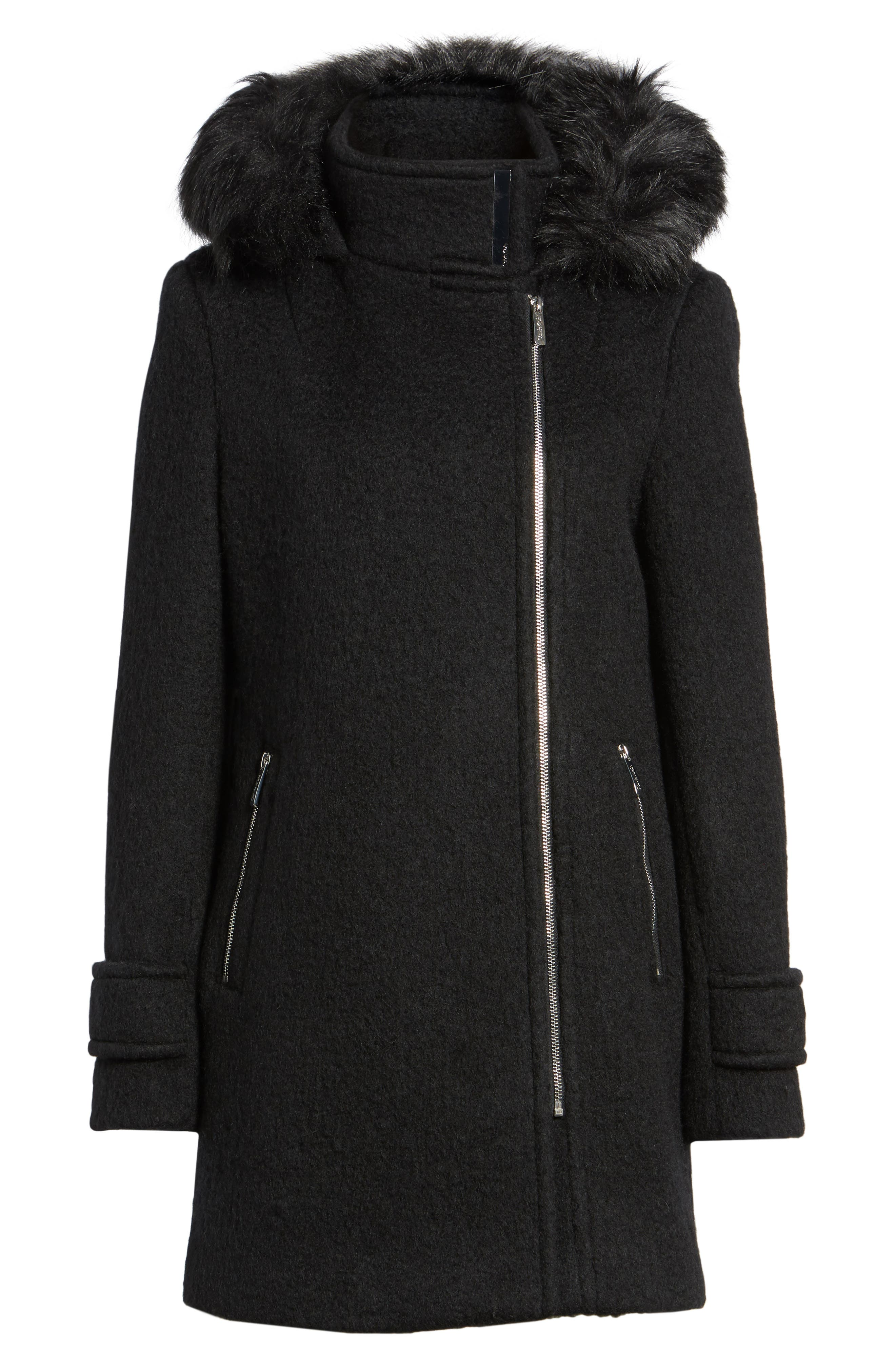 Hooded Wool Blend Jacket with Faux Fur Trim,                             Alternate thumbnail 13, color,