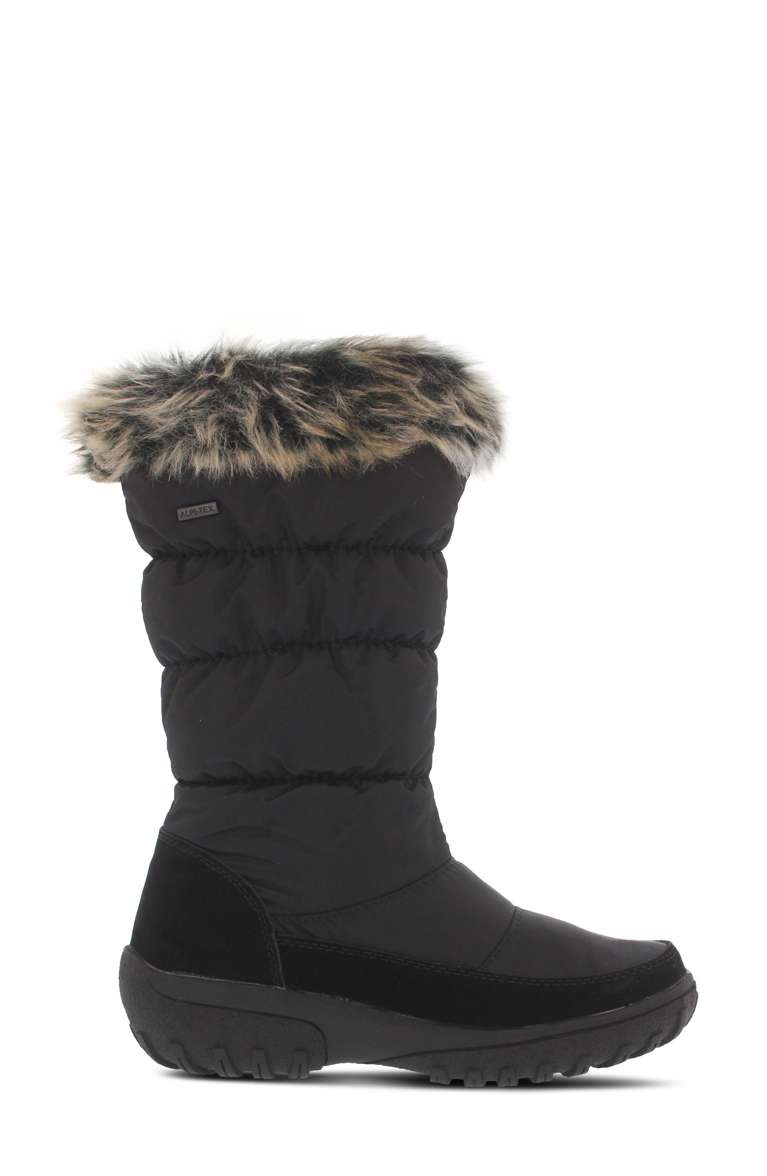 Vanish Faux Fur Trim Waterproof Boot,                             Alternate thumbnail 3, color,                             001