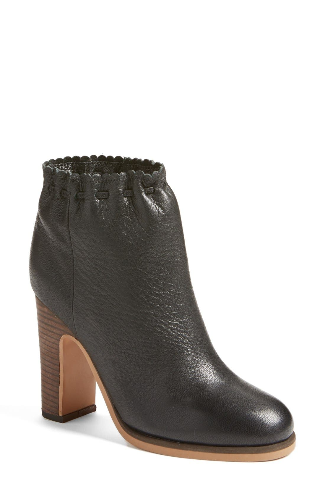 'Jane' Scalloped Bootie,                             Main thumbnail 1, color,                             001