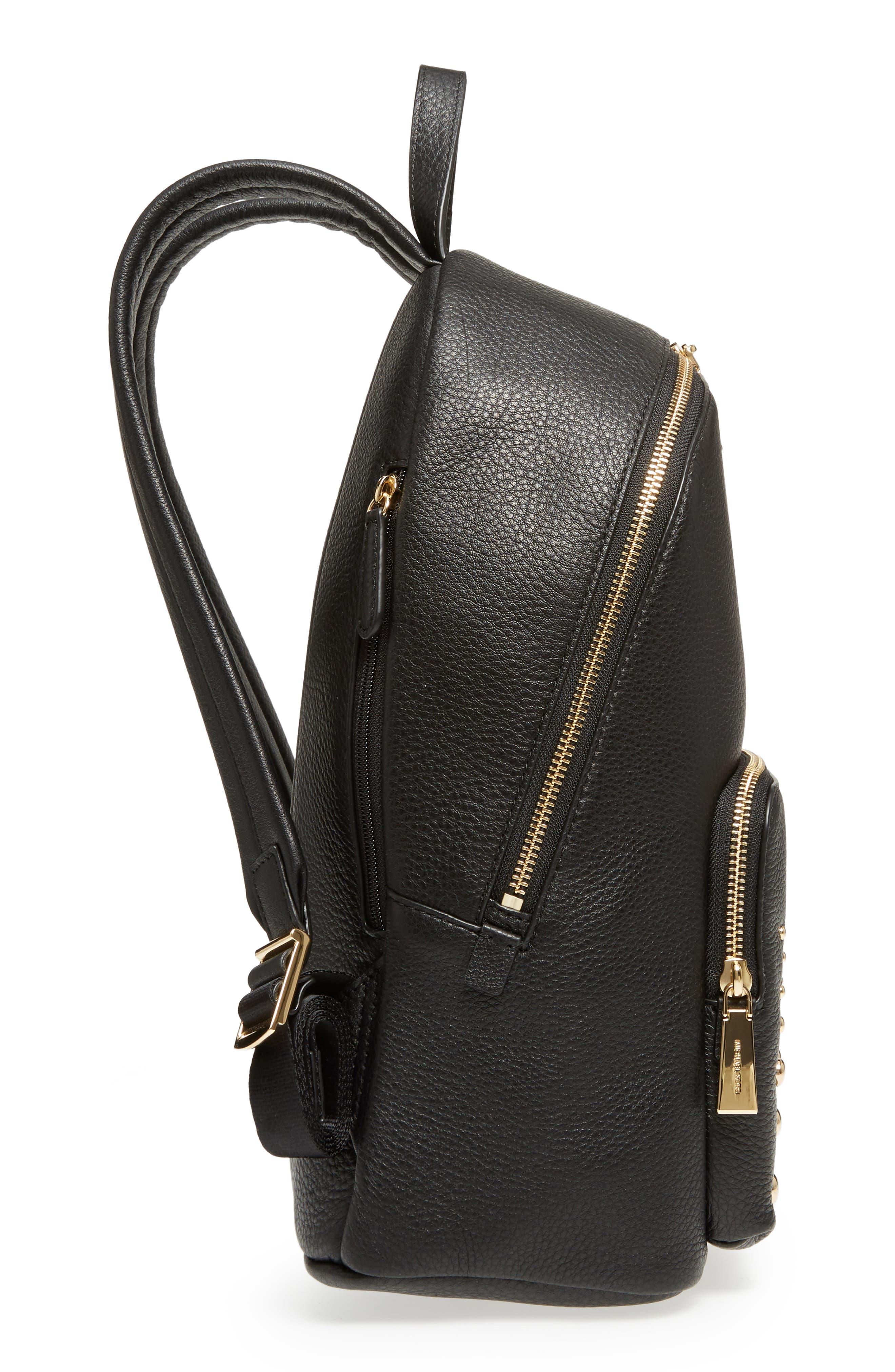 Large Wythe Studded Leather Backpack,                             Alternate thumbnail 5, color,                             001