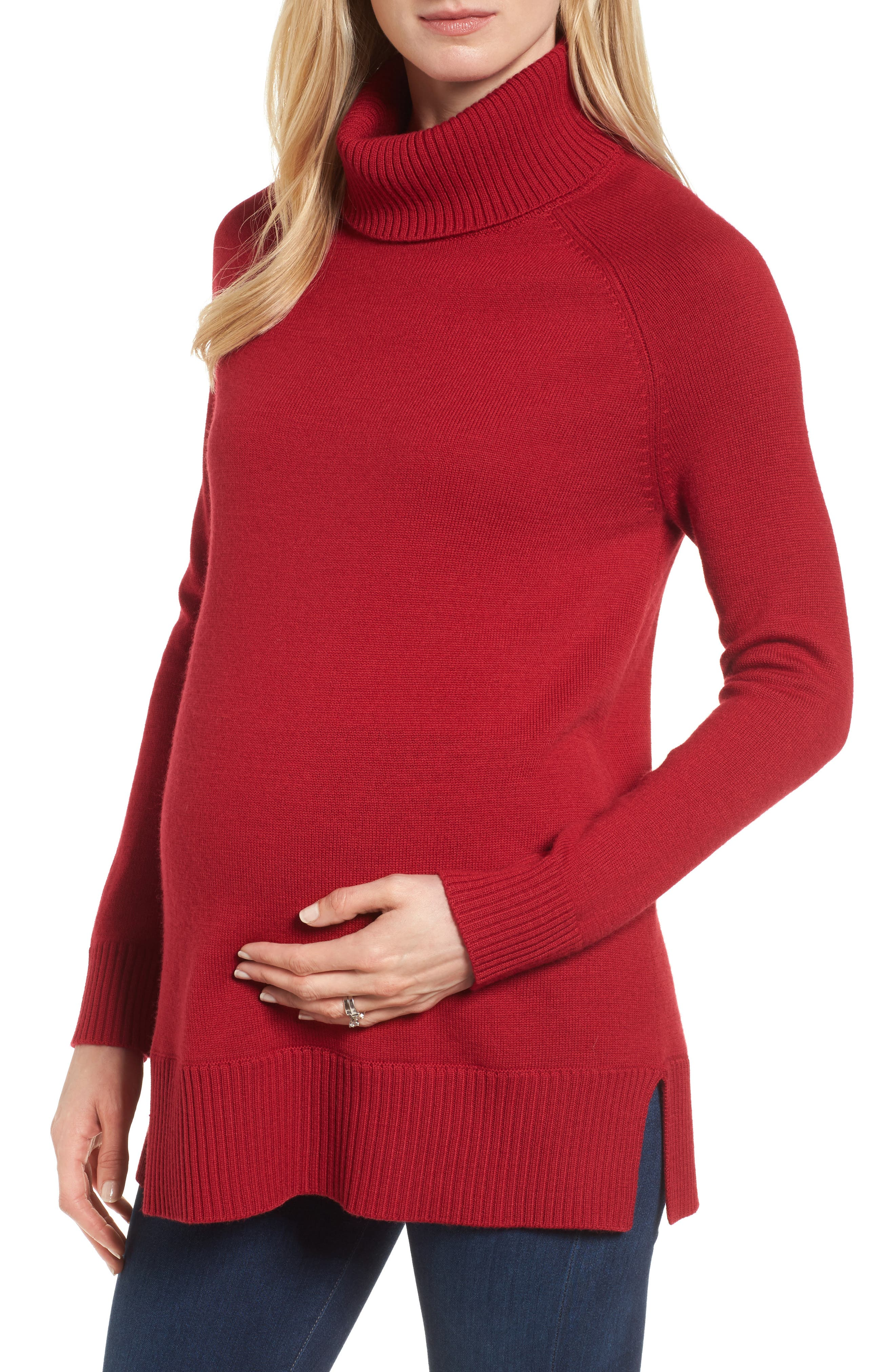 Isabella Oliver Tessa Turtleneck Wool Maternity Sweater, Red
