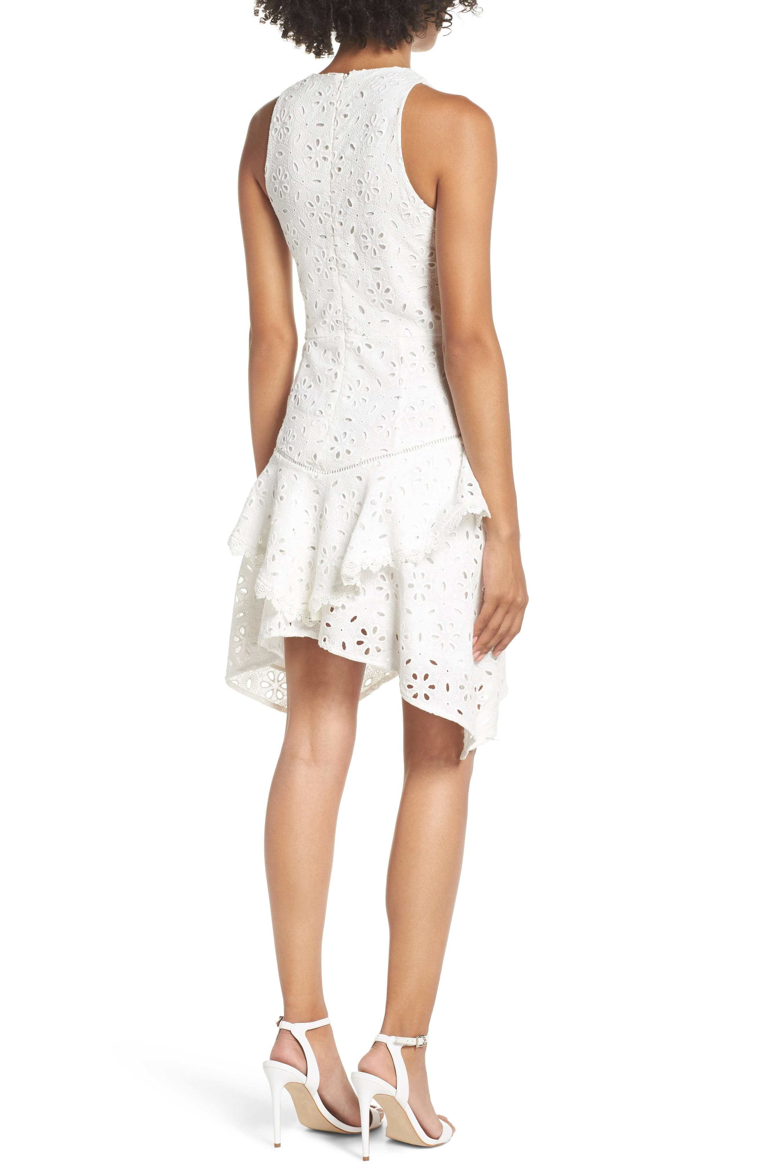Eyelet Layered Fit & Flare Dress,                             Alternate thumbnail 2, color,                             100