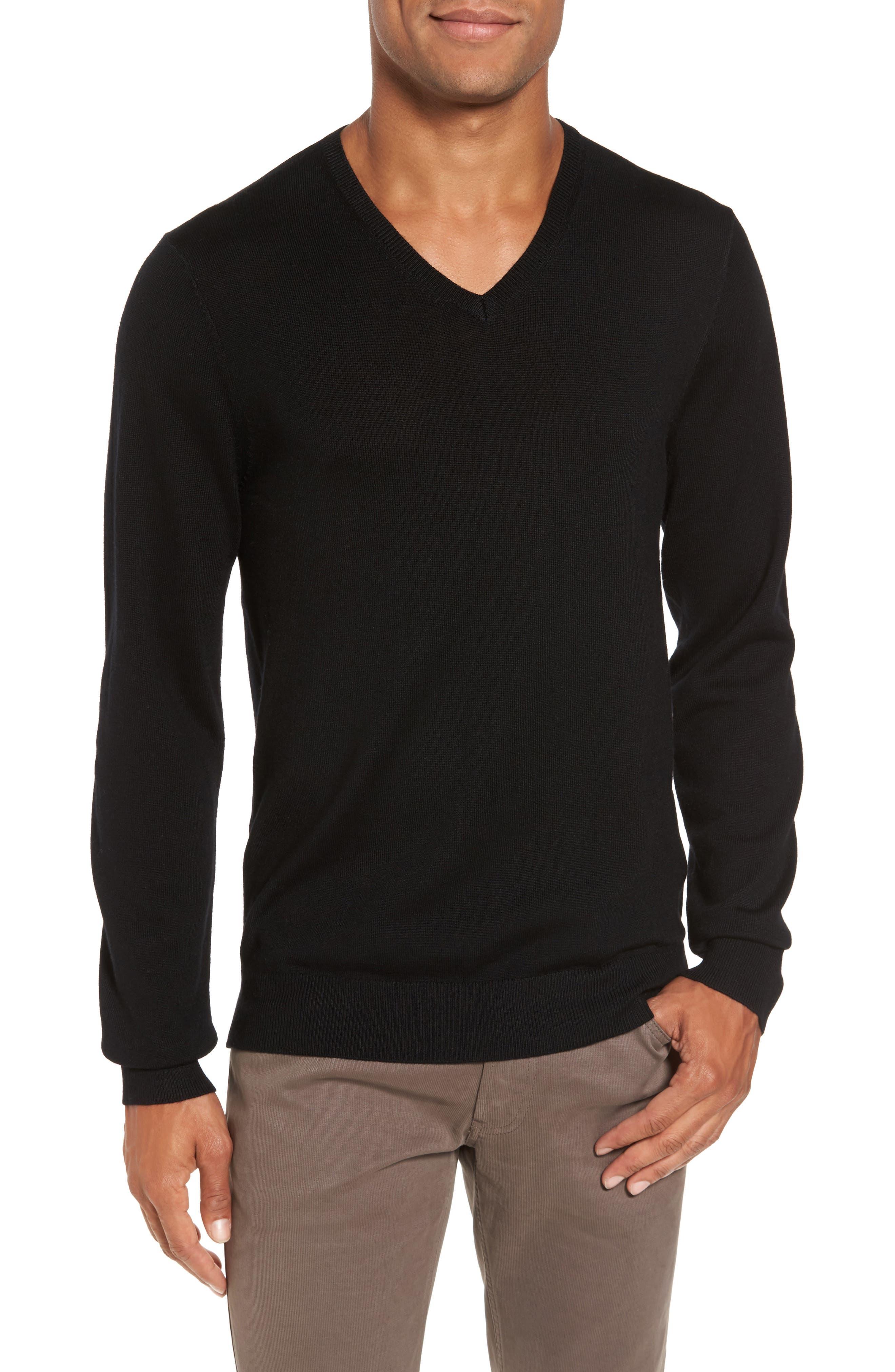 Merino V-Neck Sweater,                             Main thumbnail 1, color,                             001