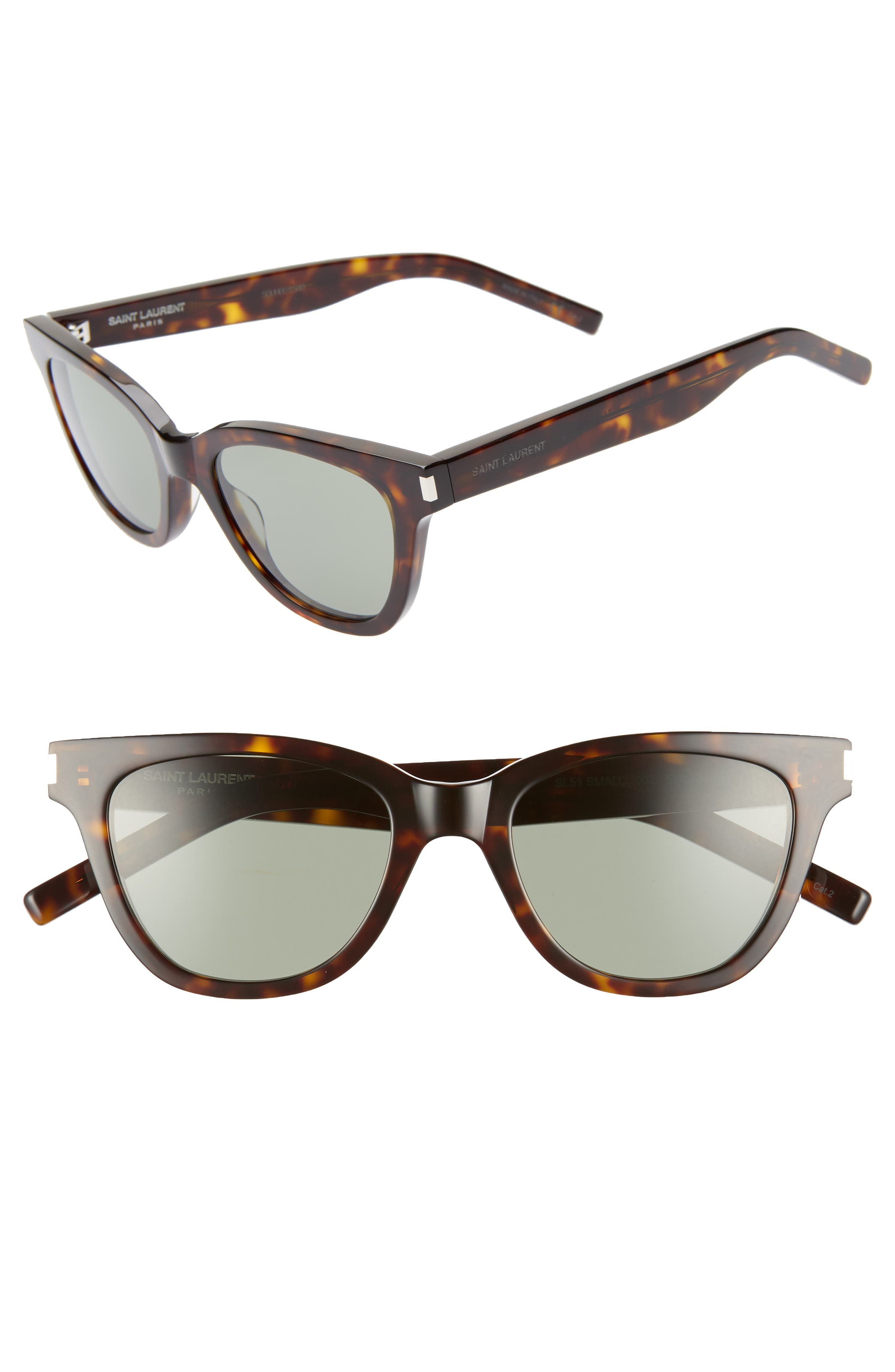 51mm Cat Eye Sunglasses, Main, color, DARK HAVANA/ GREEN