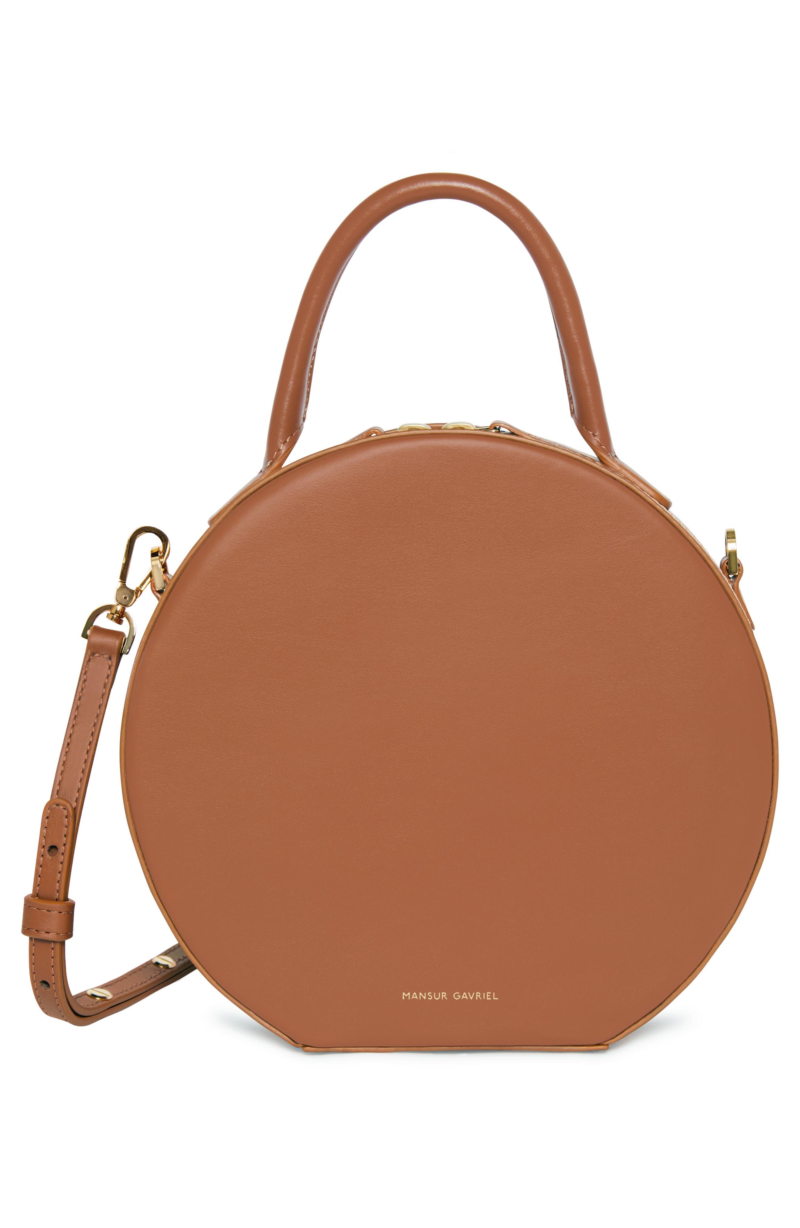 Leather Circle Crossbody Bag,                             Alternate thumbnail 3, color,                             SADDLE
