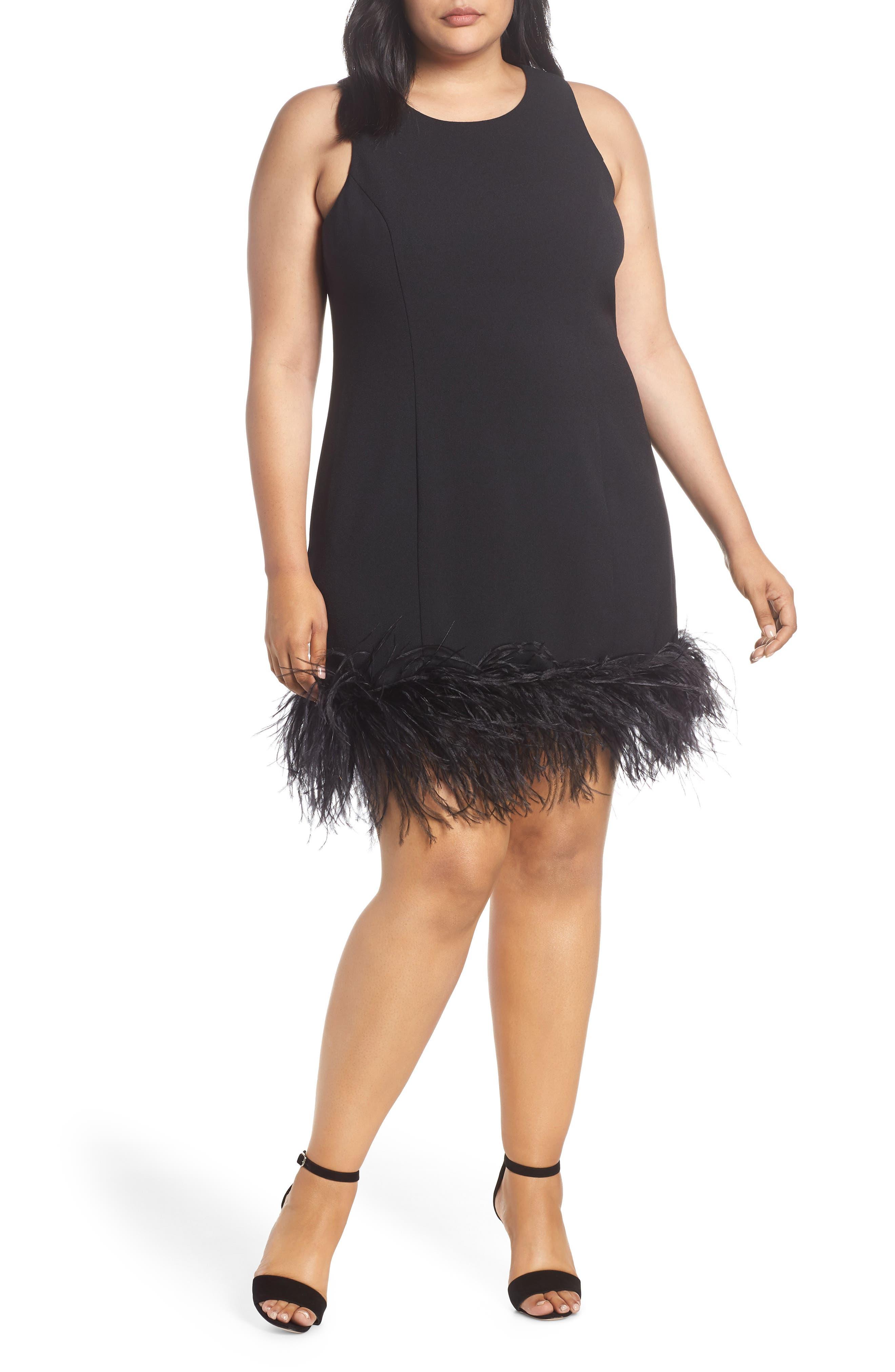 1920s Plus Size Flapper Dresses, Gatsby Dresses, Flapper Costumes Plus Size Womens Chelsea28 Feather Hem Sheath Dress $159.00 AT vintagedancer.com