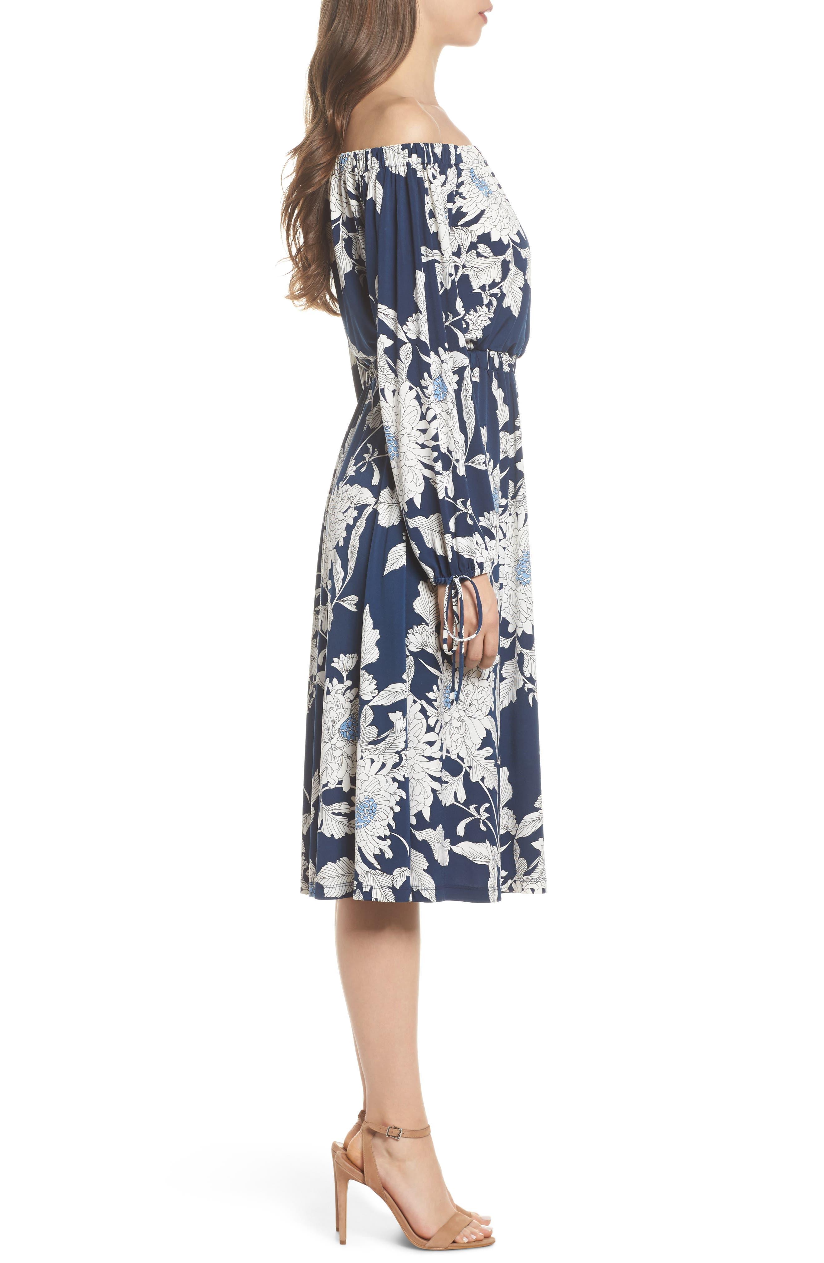 Print Jersey Off the Shoulder Blouson Dress,                             Alternate thumbnail 3, color,                             402