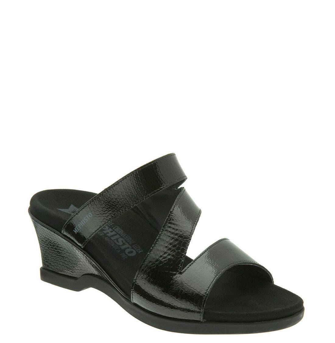 MEPHISTO,                             'Cathy' Wedge,                             Main thumbnail 1, color,                             BLK