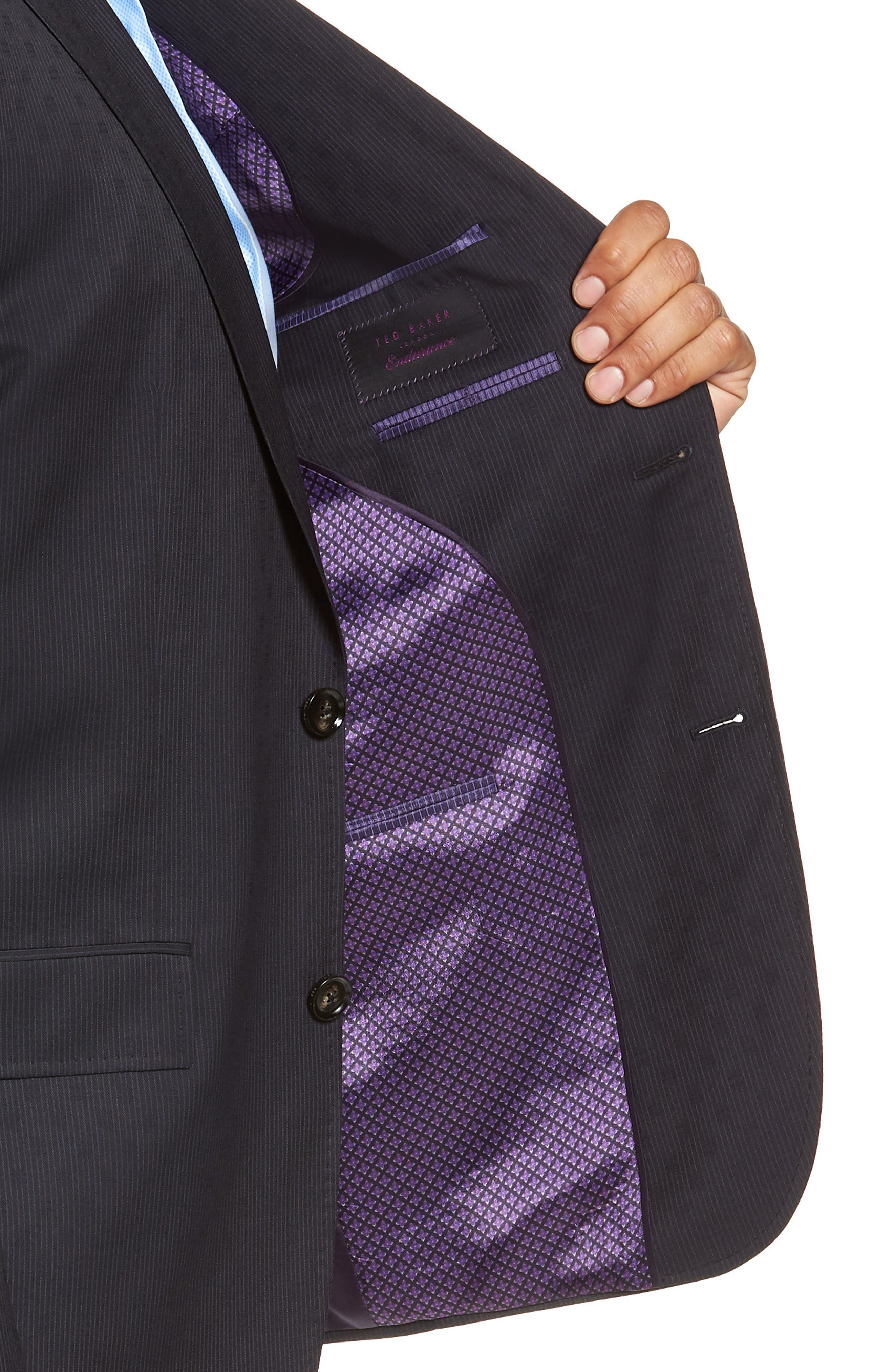 Roger Extra Trim Fit Stripe Wool Suit,                             Alternate thumbnail 4, color,                             NAVY STRIPE