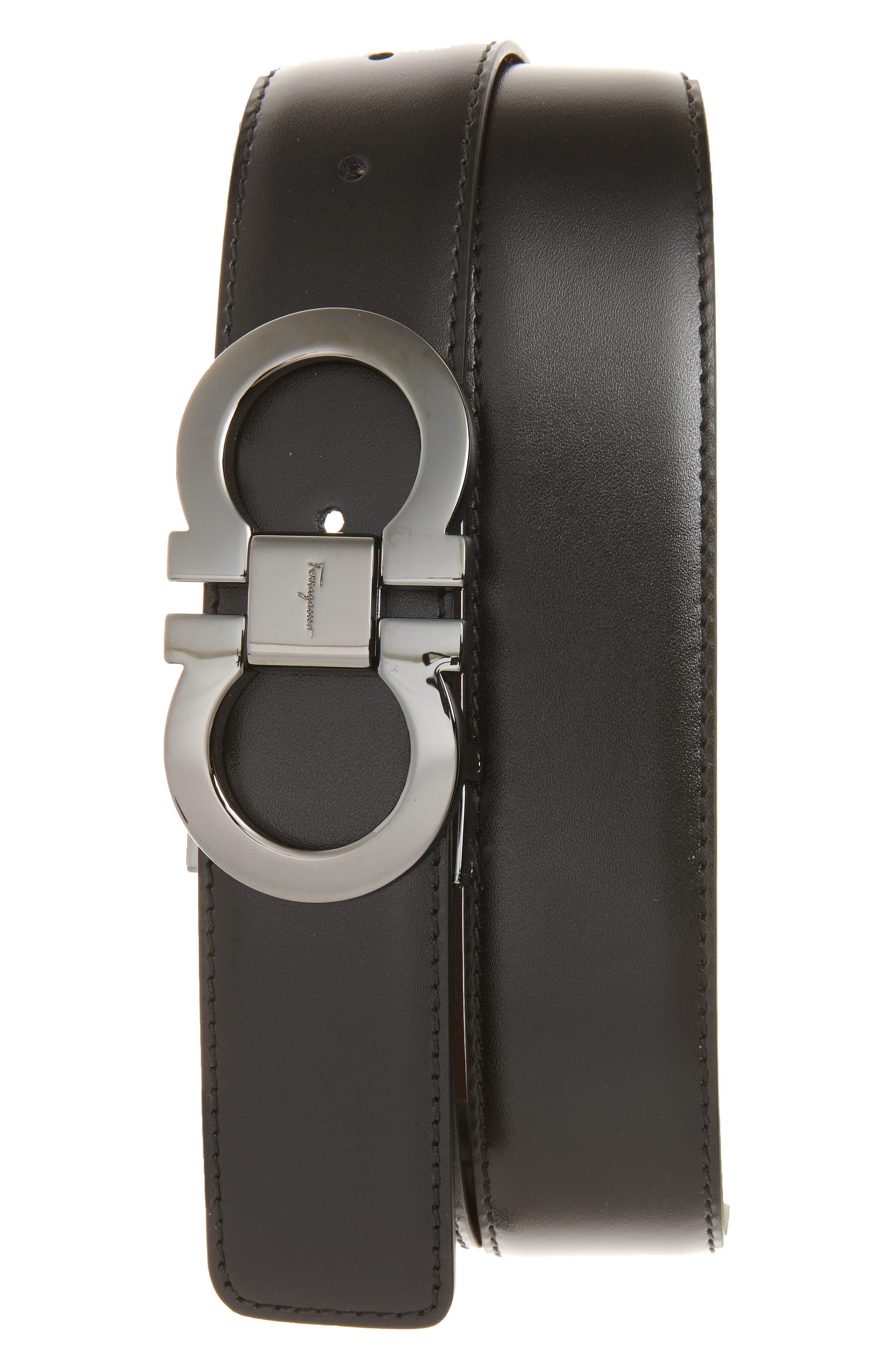 Reversible Leather Belt,                         Main,                         color, BLACK/ AUBURN