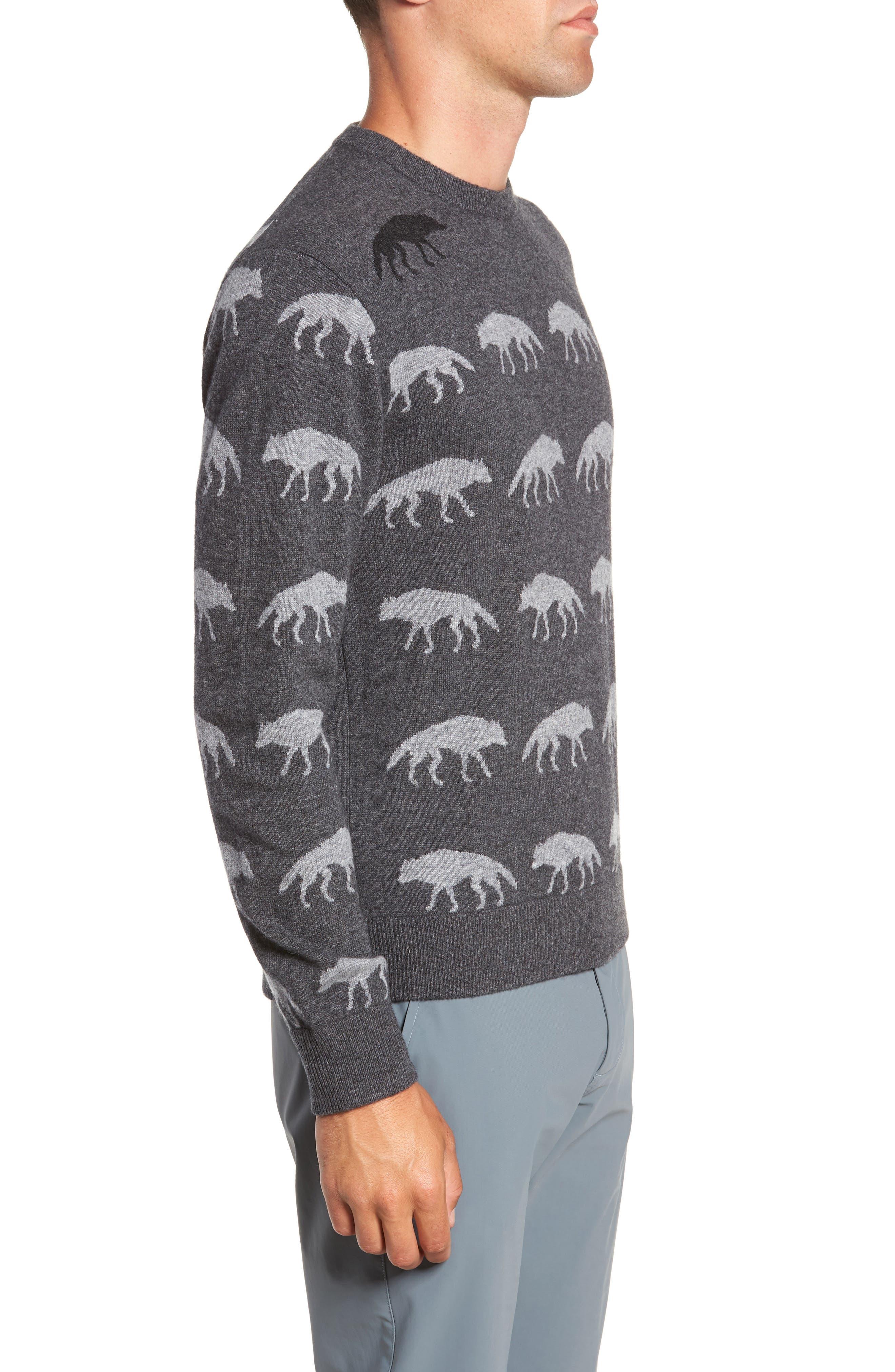 Alphawolf Intarsia Crewneck Sweater,                             Alternate thumbnail 3, color,                             GREY HEATHER