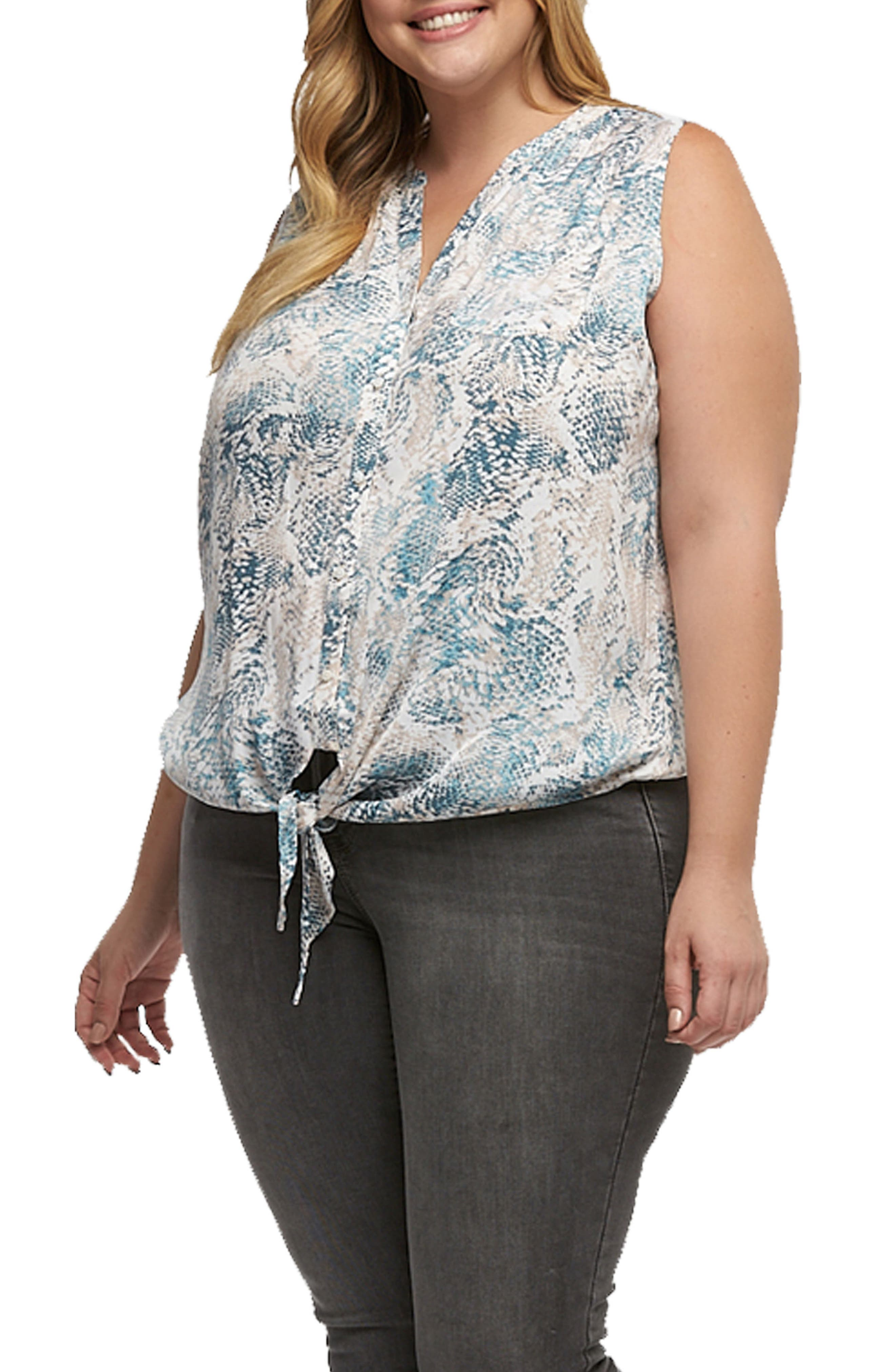 Liya Print Tie Hem Top,                             Alternate thumbnail 3, color,                             107
