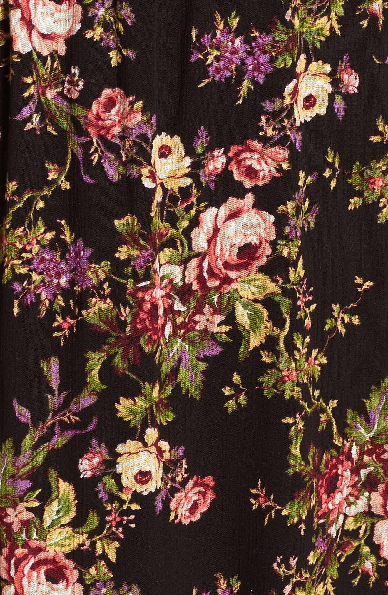Blouson Midi Dress,                             Alternate thumbnail 6, color,                             BLACK TAPESTRY FLORAL