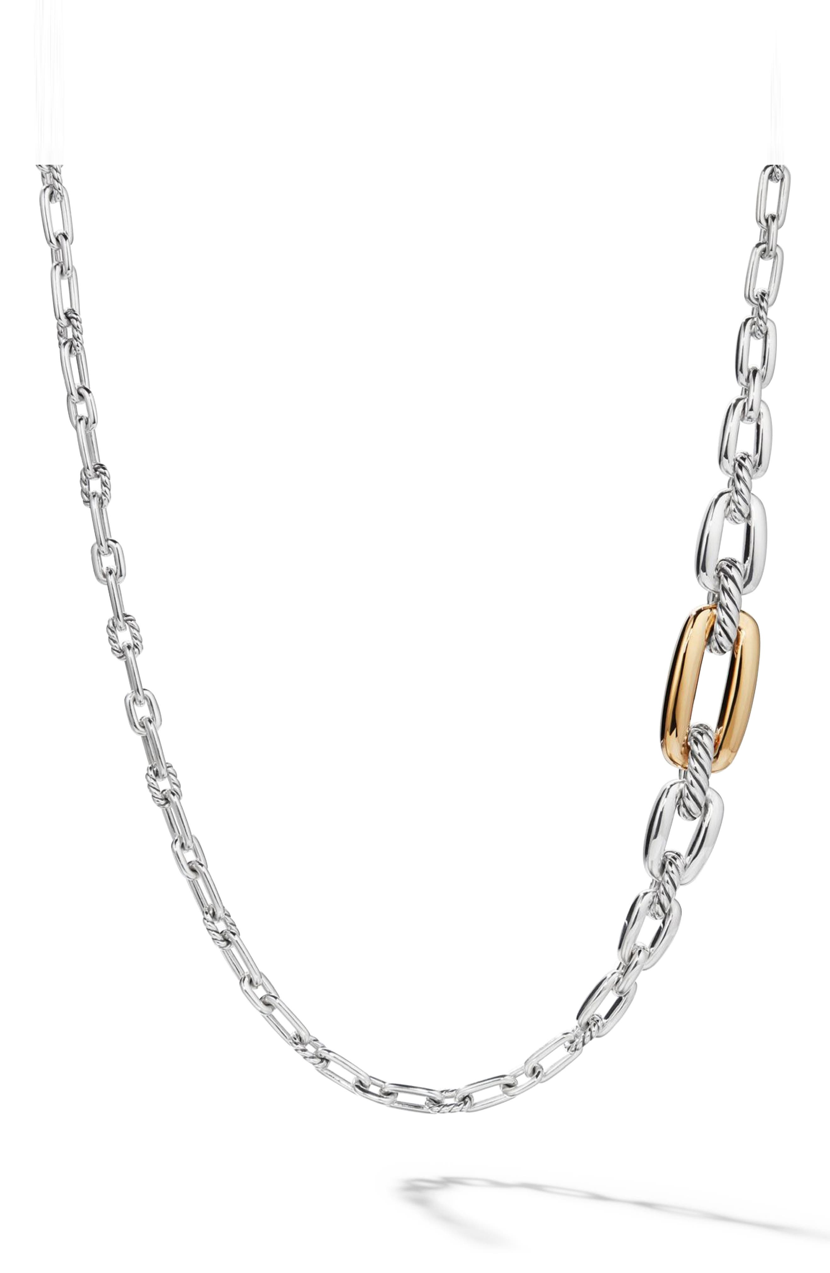 Wellesley Link Long Necklace with 18k Gold,                         Main,                         color, 18K YELLOW GOLD/ SILVER
