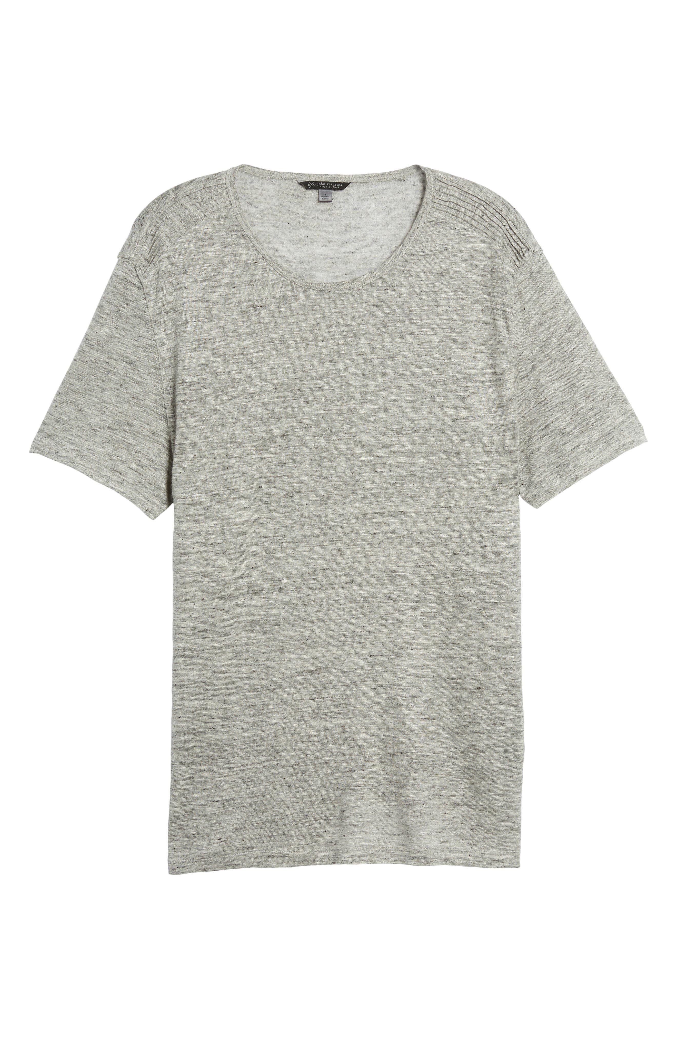 John Varvatos x Nick Jonas Linen T-Shirt,                             Alternate thumbnail 6, color,                             LIGHT GREY HEATHER