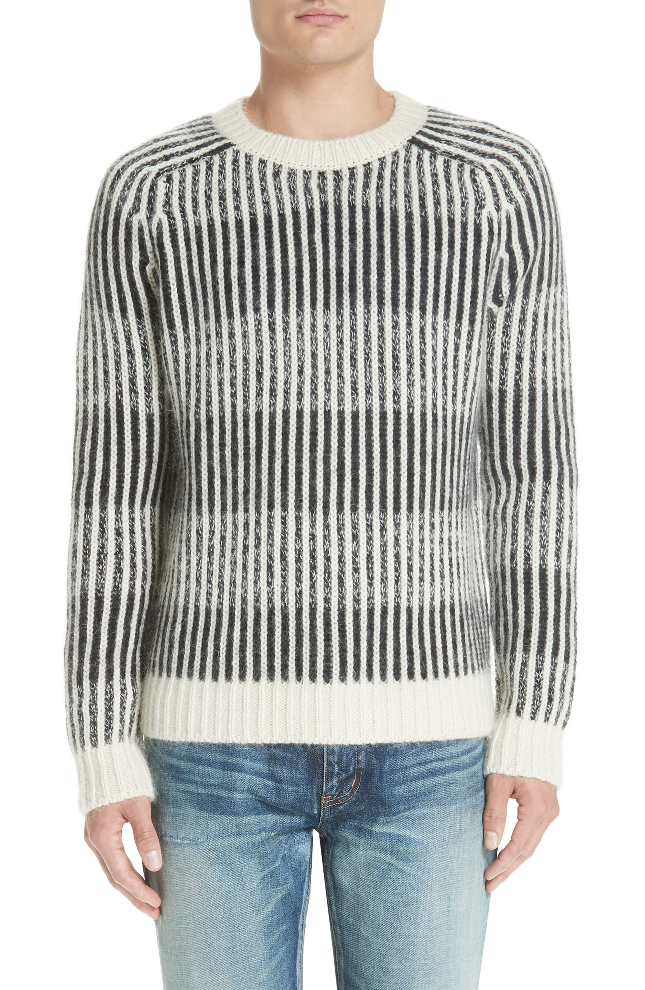 SAINT LAURENT Contrast Rib Wool & Alpaca Blend Sweater, Main, color, 134