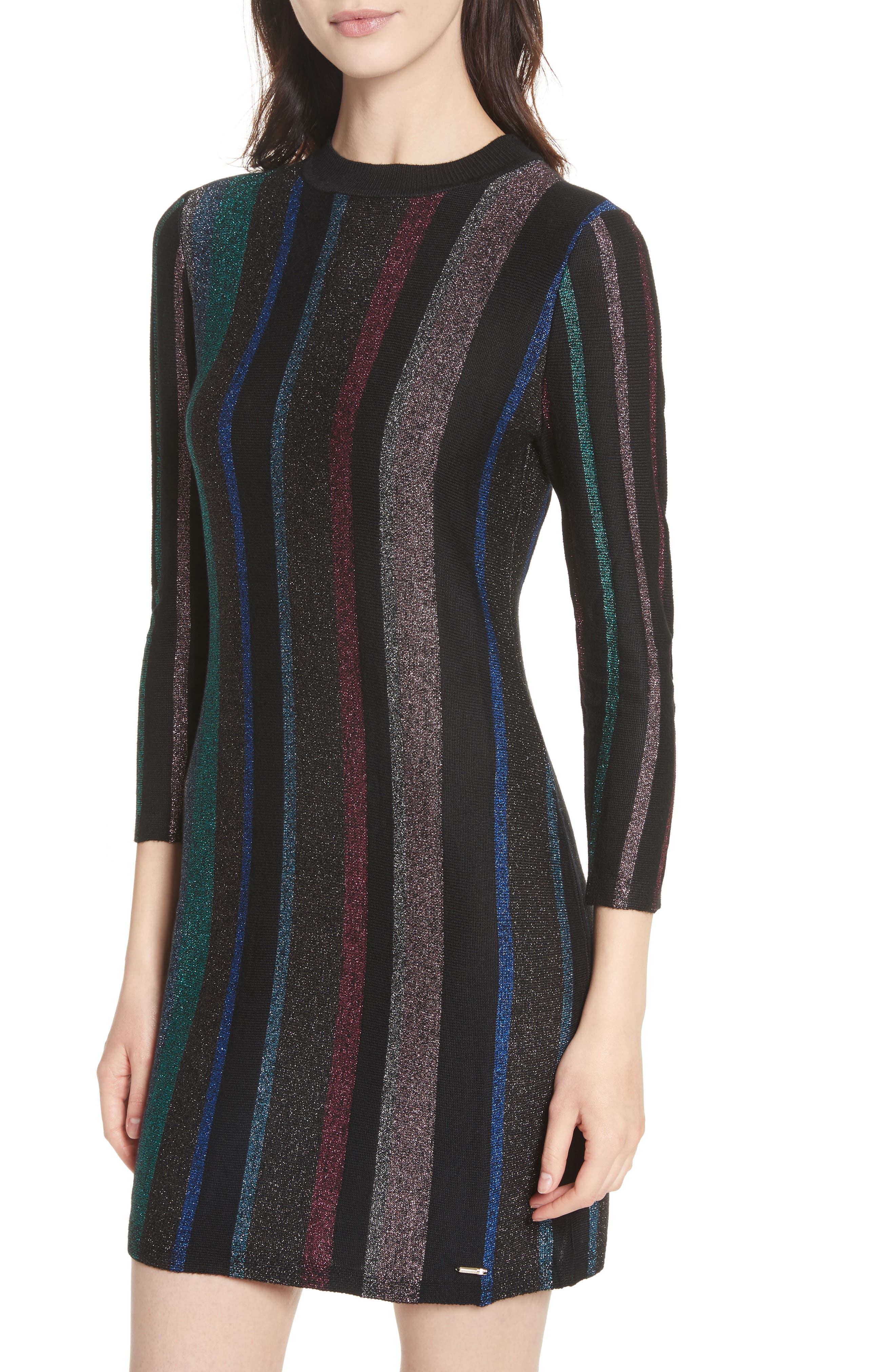 Metallic Stripe Body-Con Dress,                             Alternate thumbnail 4, color,                             001