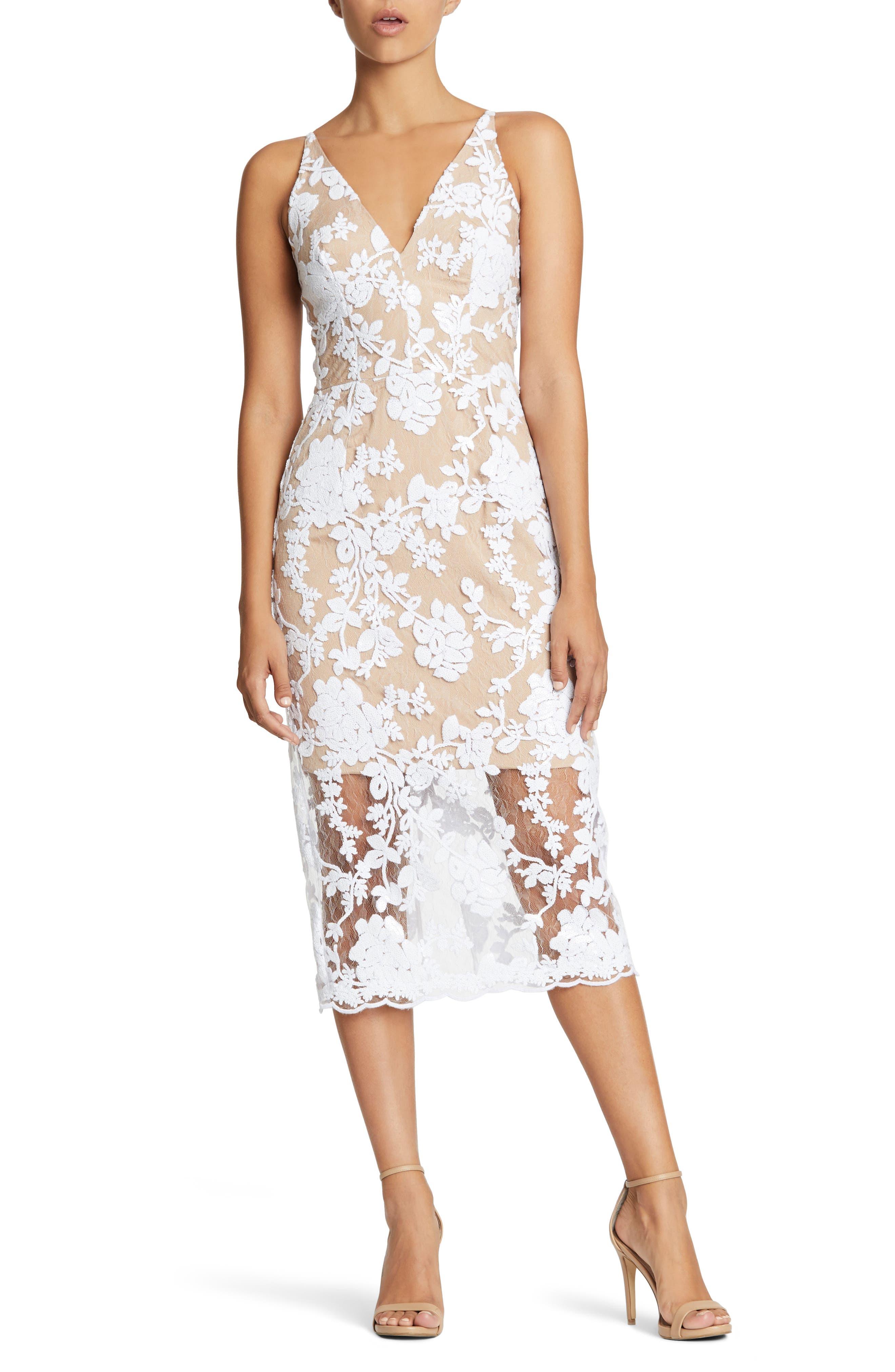 Rebecca Floral Lace Midi Dress,                             Main thumbnail 2, color,