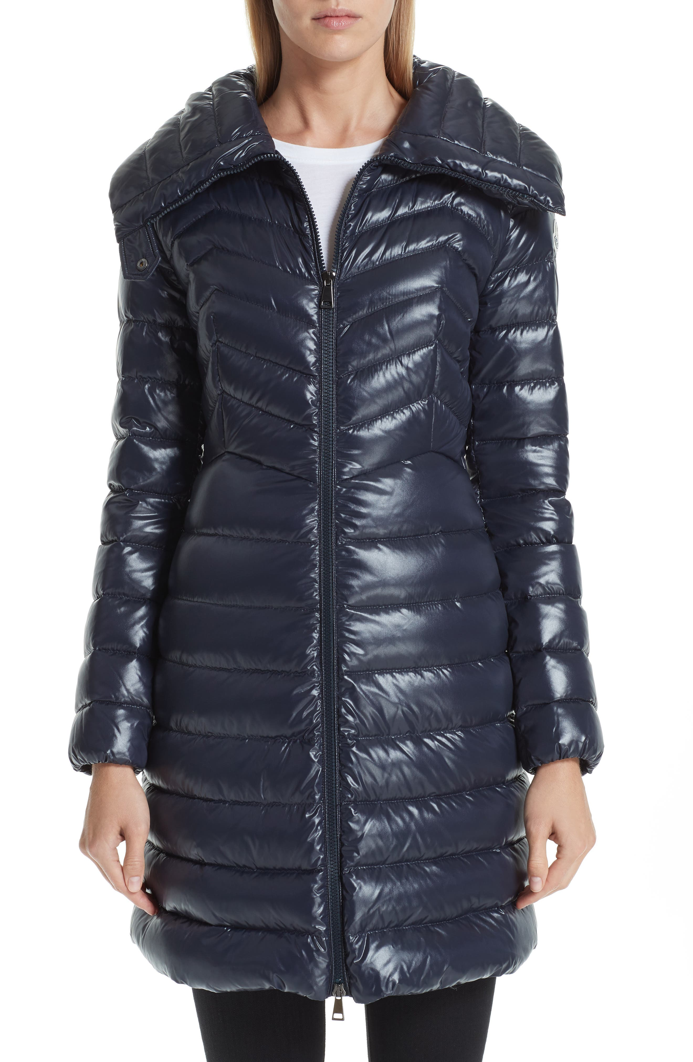 Faucon Quilted Down Coat, Main, color, NAVY