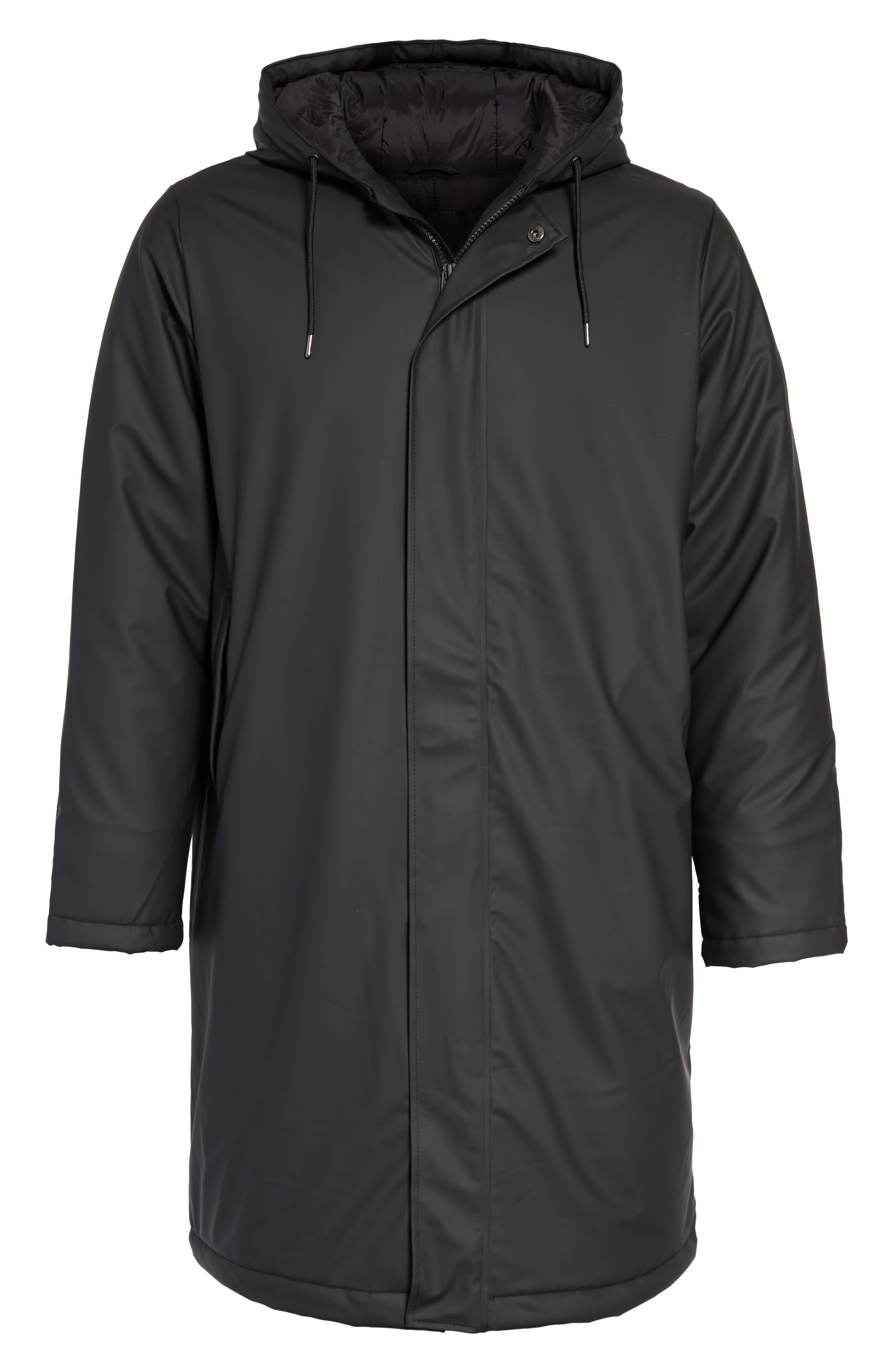 Thermal Hooded Raincoat,                             Alternate thumbnail 5, color,                             BLACK