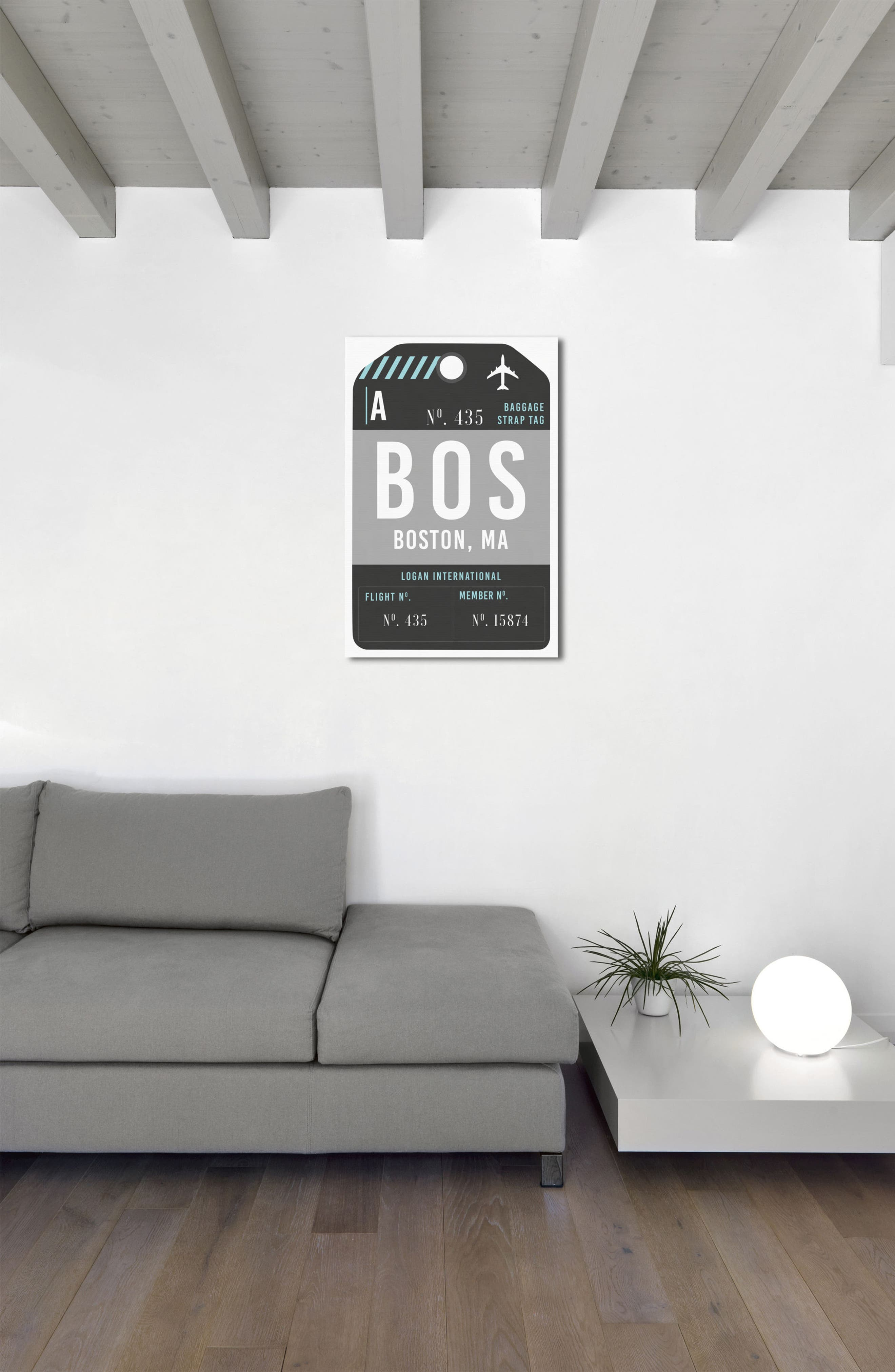 Boston Luggage Tag Wall Art,                             Alternate thumbnail 2, color,                             BLACK
