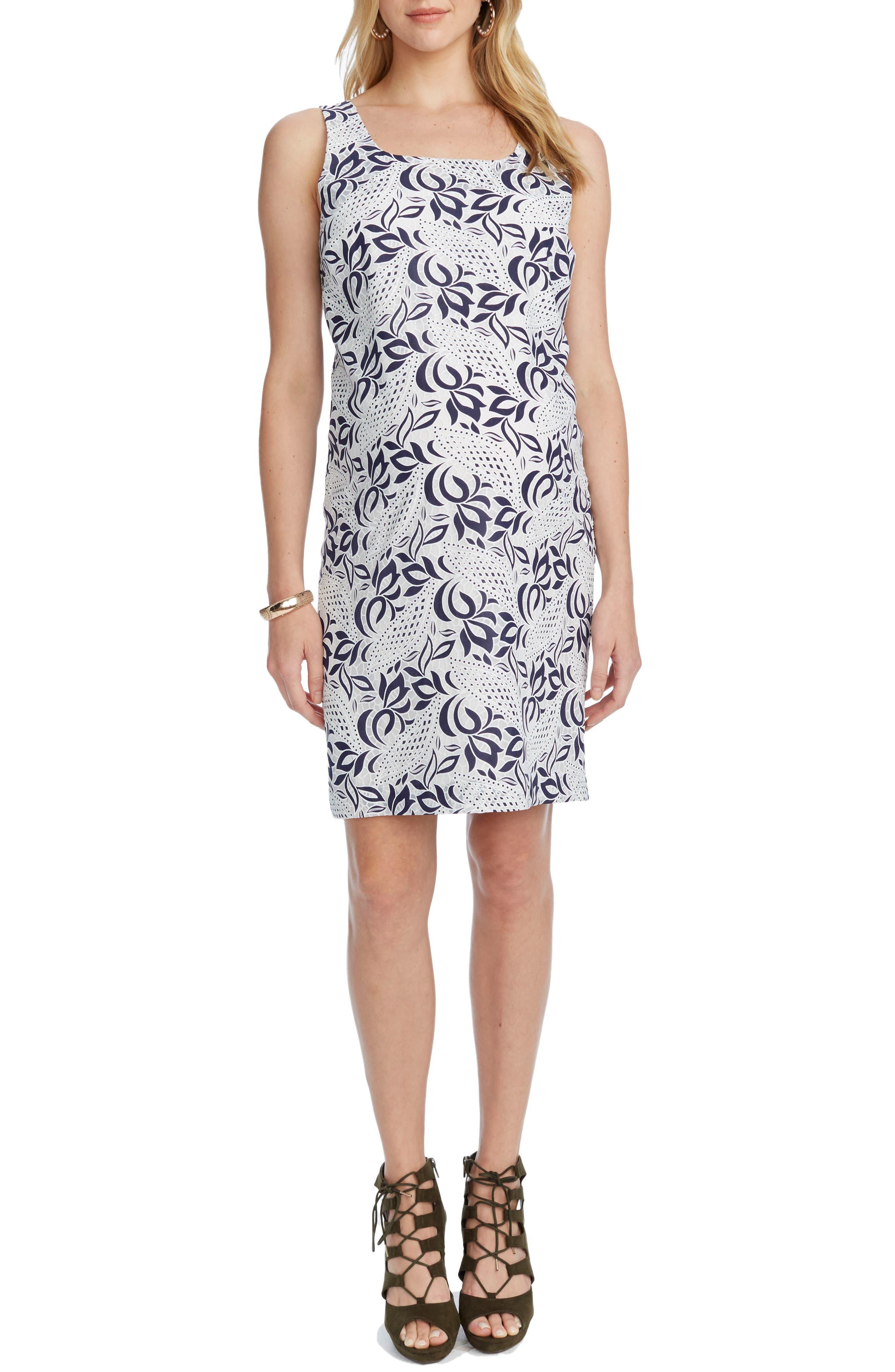 'Victoria' Lace Sleeveless Maternity Dress,                         Main,                         color, NAVY/ WHITE