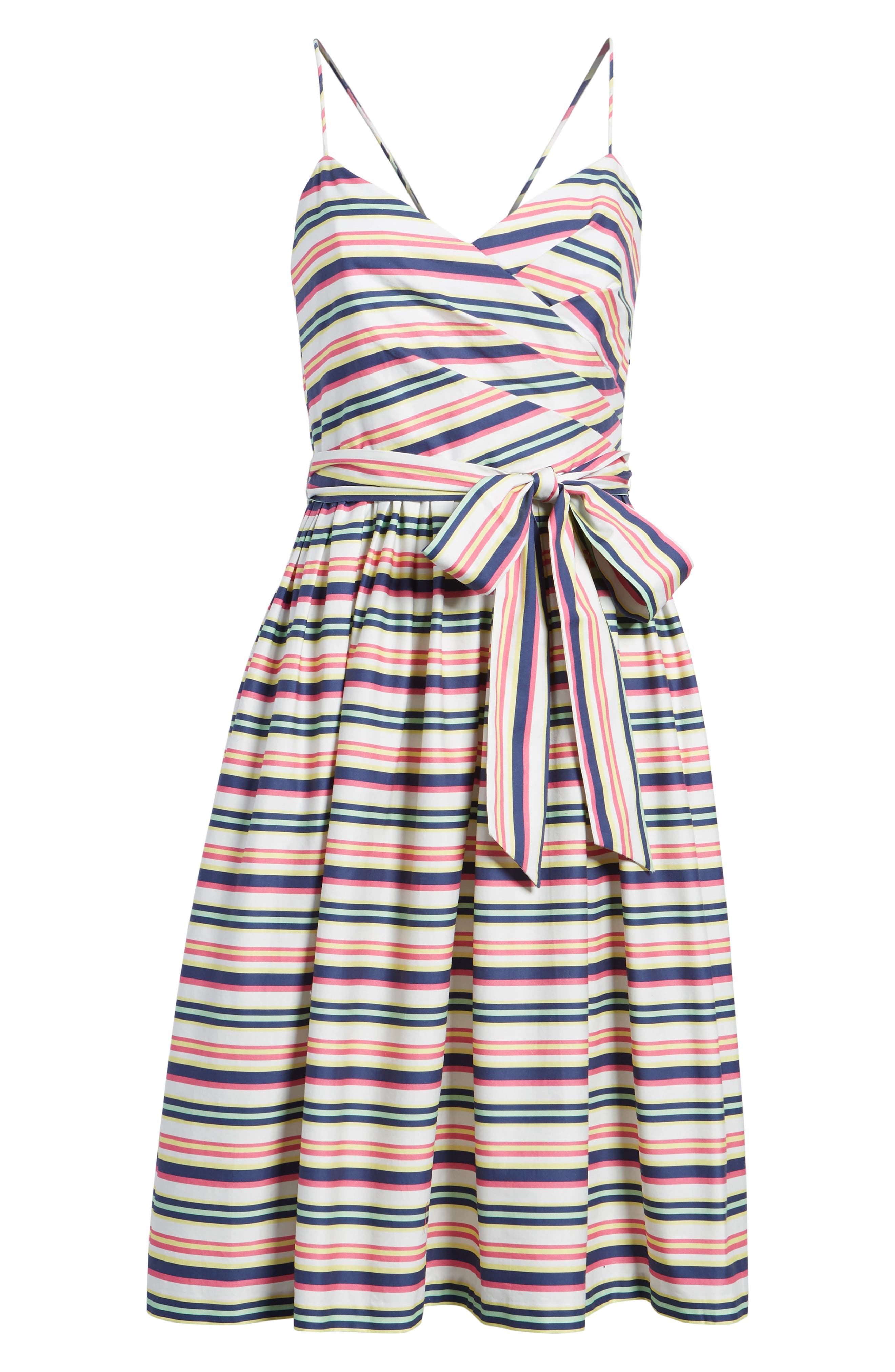 Stripe Strappy Cotton Dress,                             Alternate thumbnail 6, color,                             NAVY PINK COMBO STRIPE