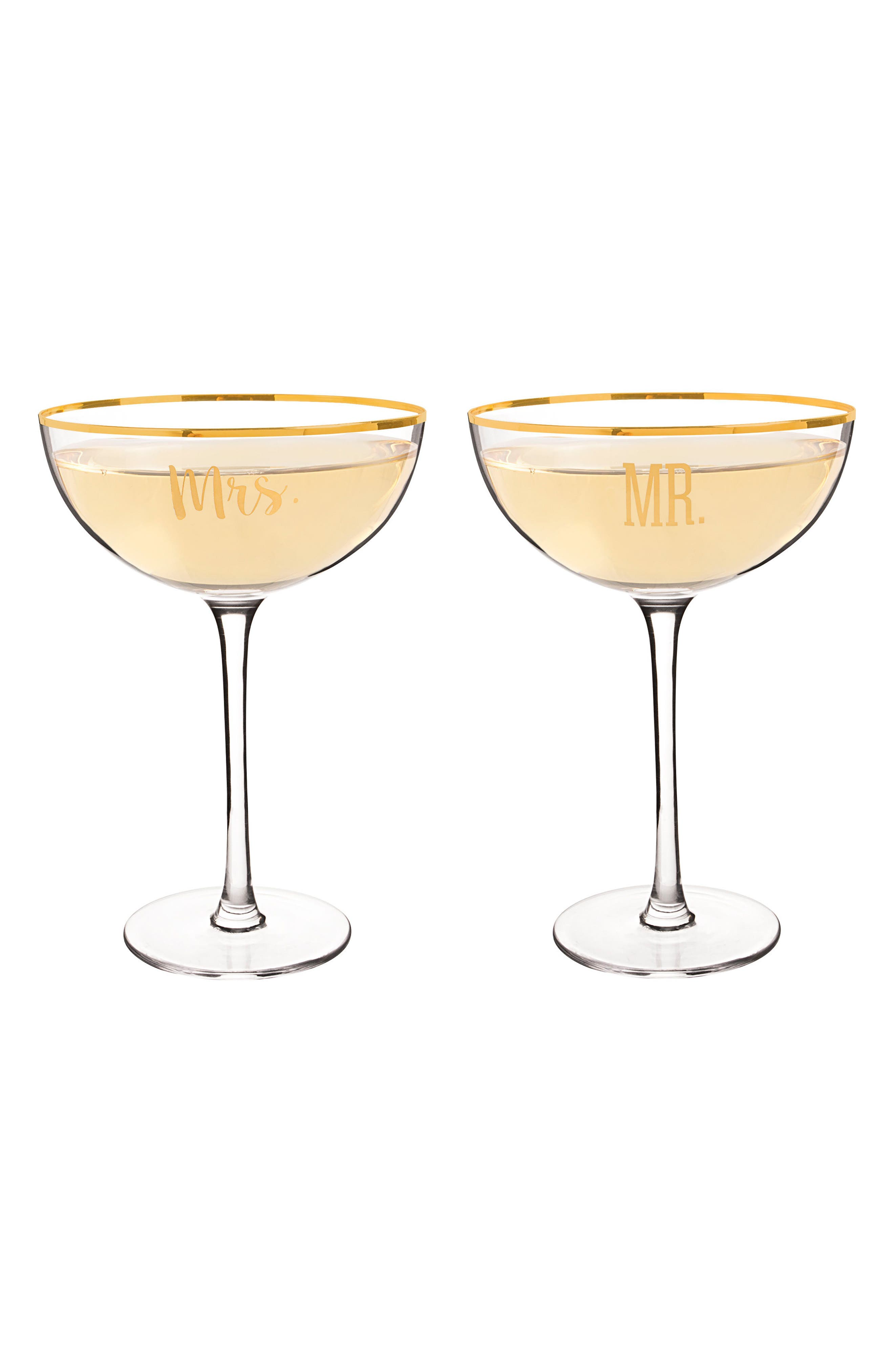 Mr. & Mrs. Set of 2 Champagne Coupe Toasting Glasses,                             Alternate thumbnail 4, color,                             710