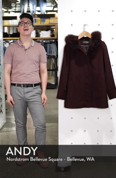 Genuine Fox Fur Trim Hooded Wool Coat, sales video thumbnail