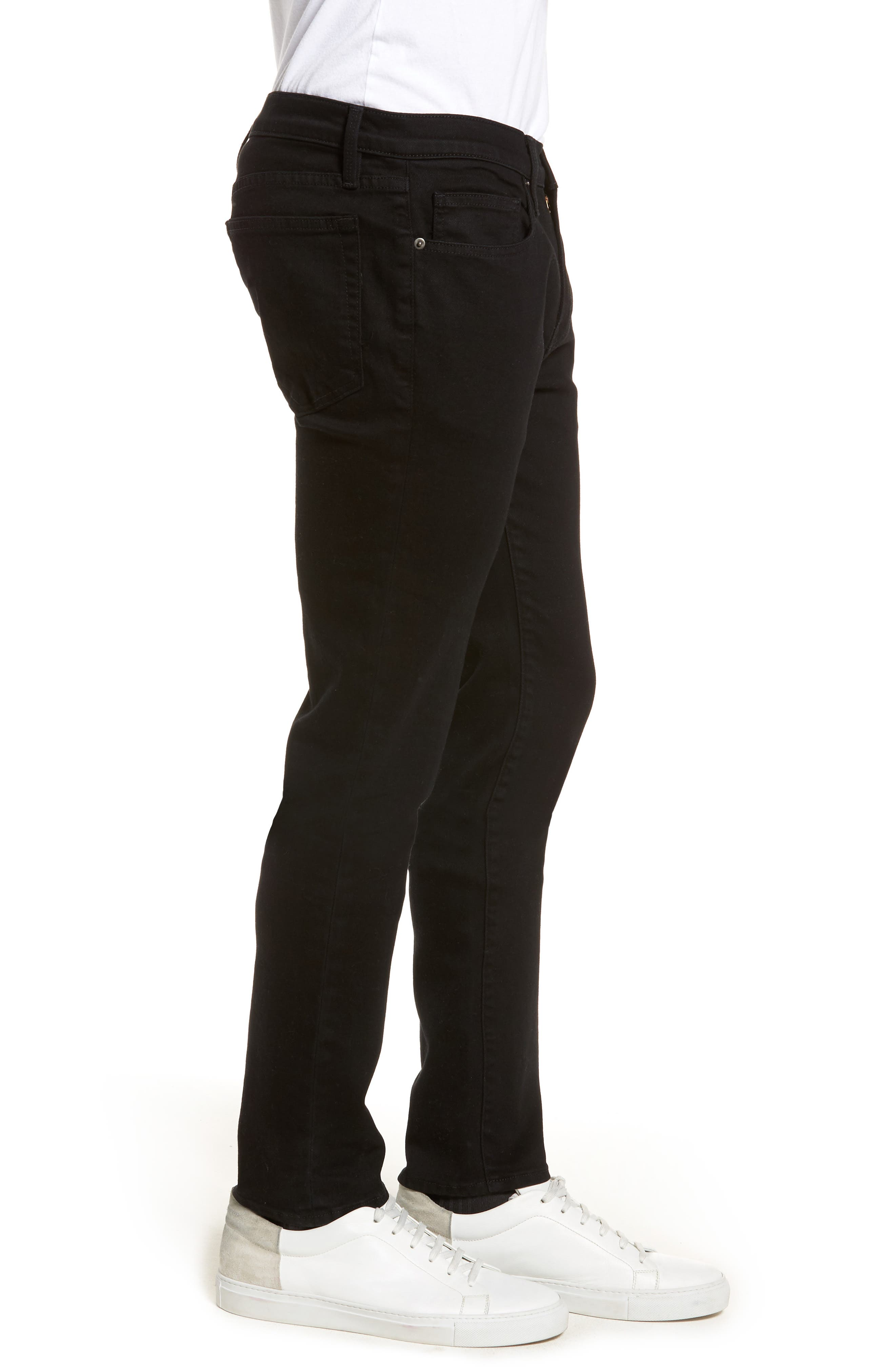 L'Homme Skinny Fit Jeans,                             Alternate thumbnail 3, color,                             NOIR