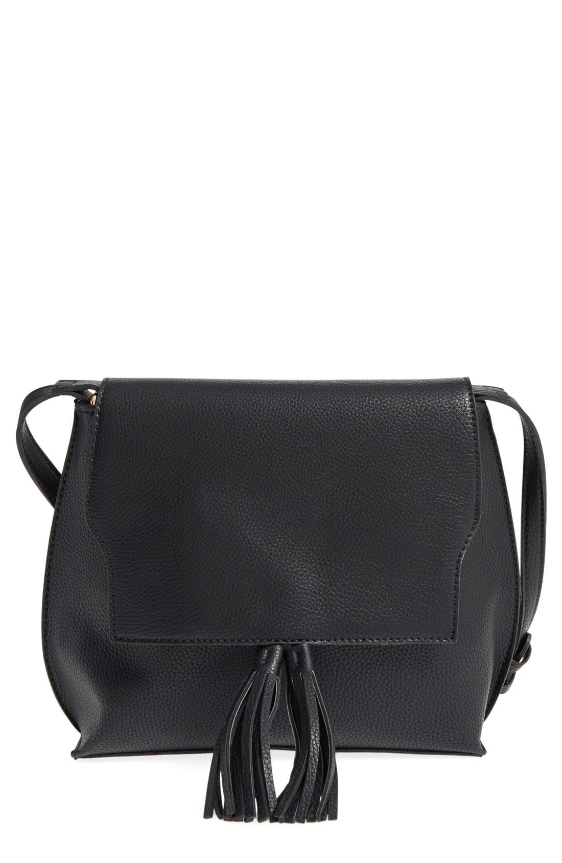 Tassel Faux Leather Crossbody Bag,                             Main thumbnail 1, color,                             001
