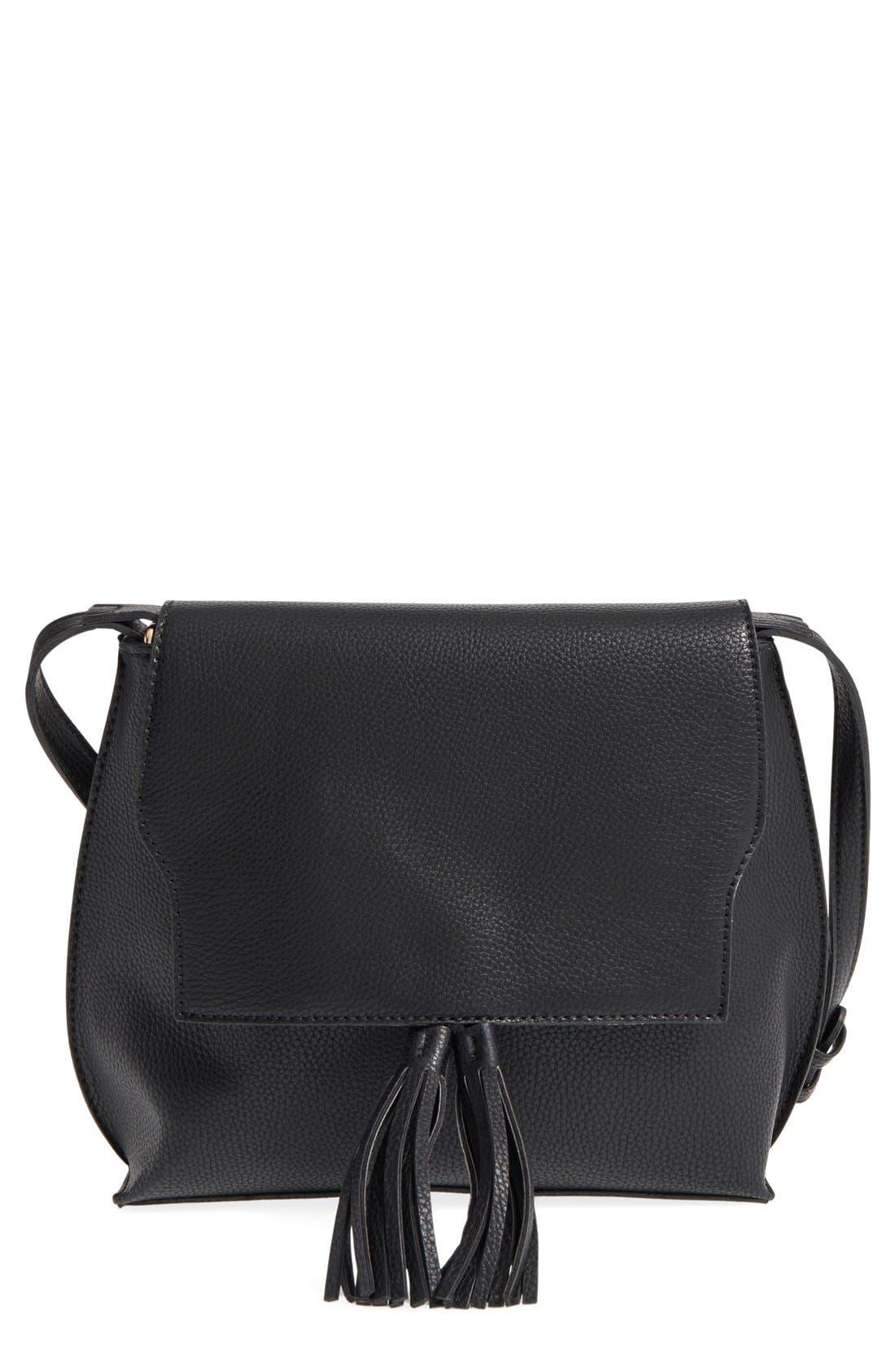 Tassel Faux Leather Crossbody Bag,                         Main,                         color, 001