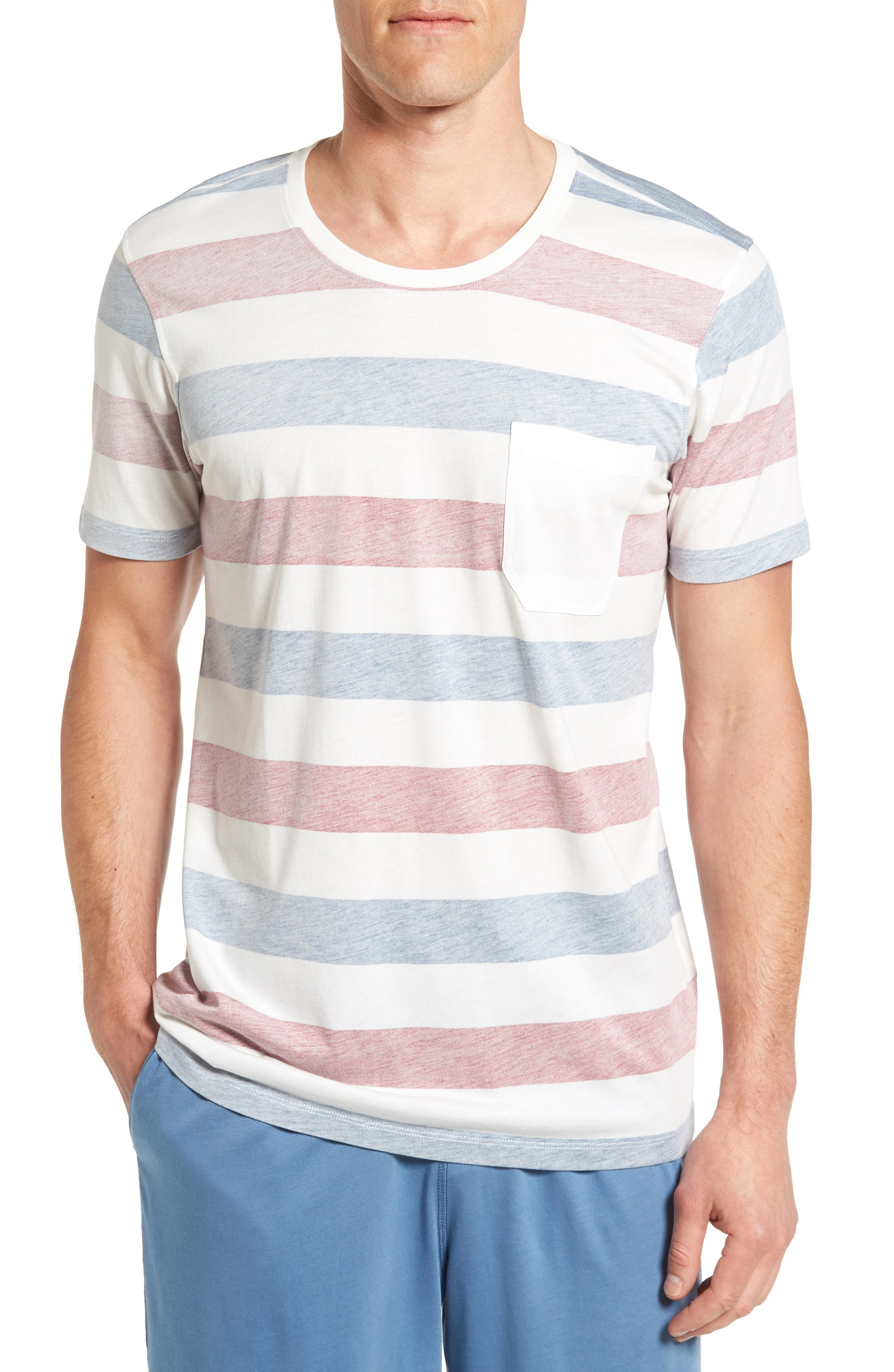 Reverse Stripe Pima Cotton & Modal Crewneck T-Shirt,                         Main,                         color,