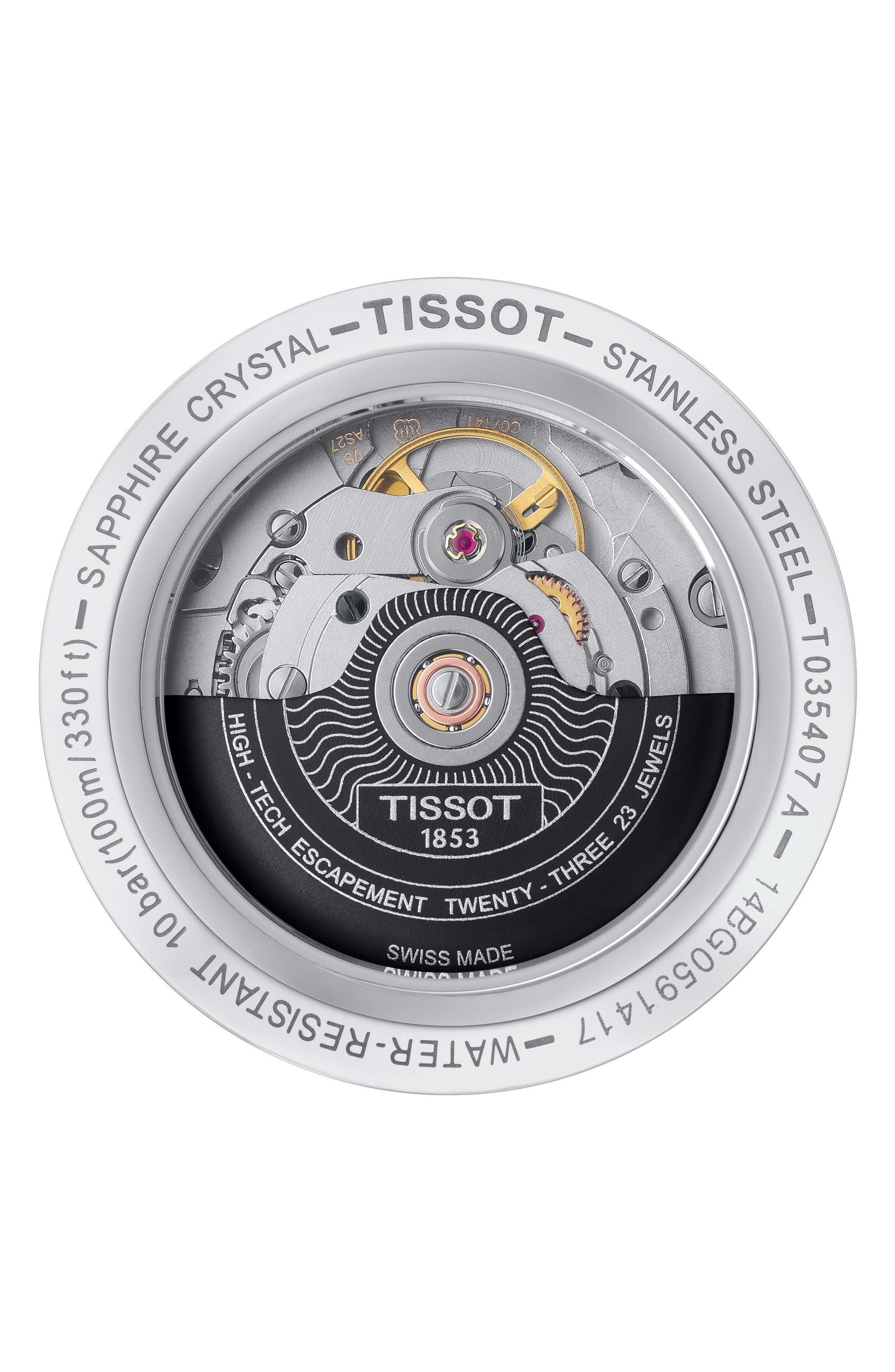 TISSOT,                             Couturier Automatic Bracelet Watch, 39mm,                             Alternate thumbnail 2, color,                             SILVER/ BLACK/ SILVER