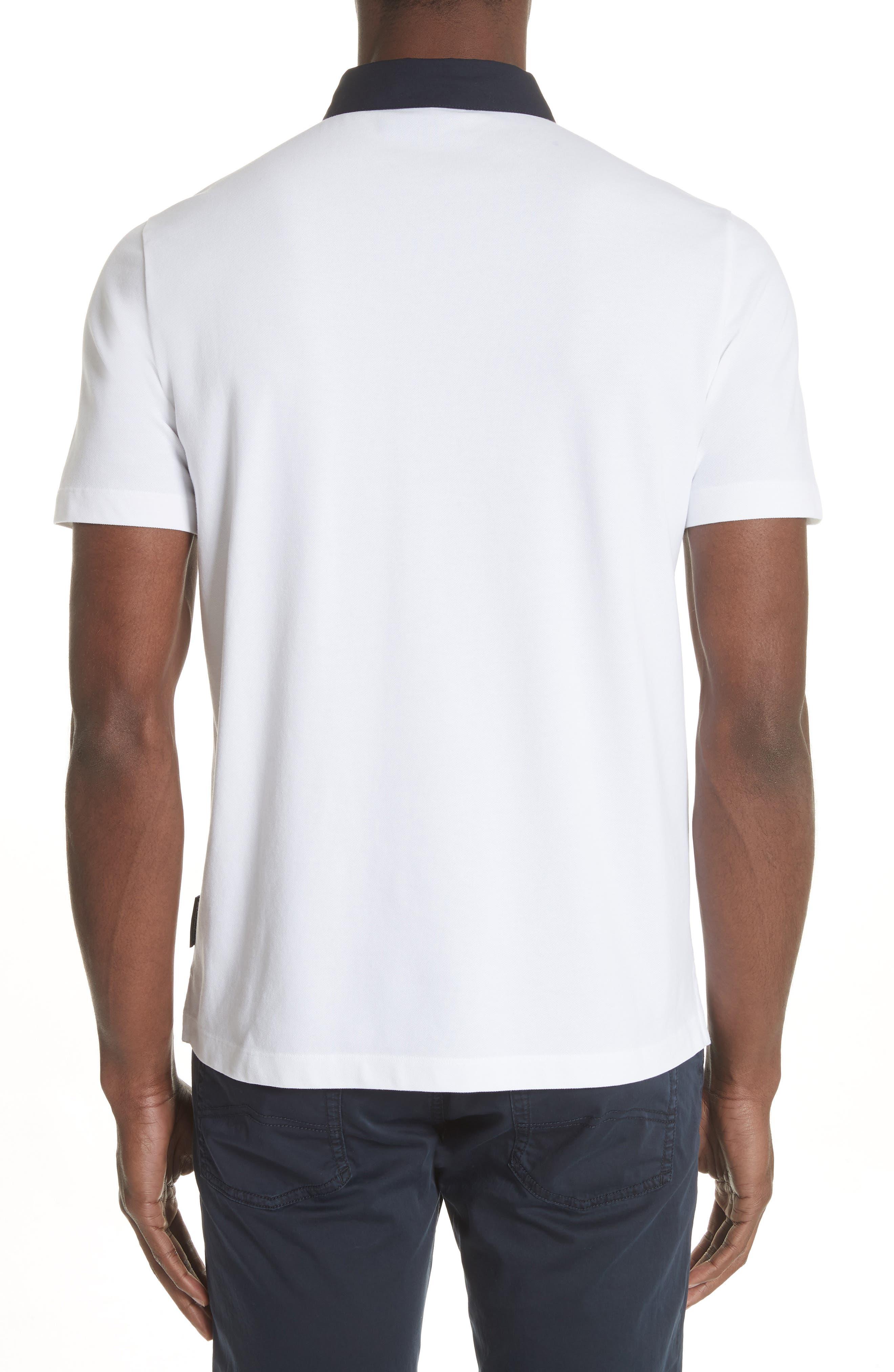 Stretch Cotton Polo Shirt,                             Alternate thumbnail 2, color,                             BIANCO OTTICO