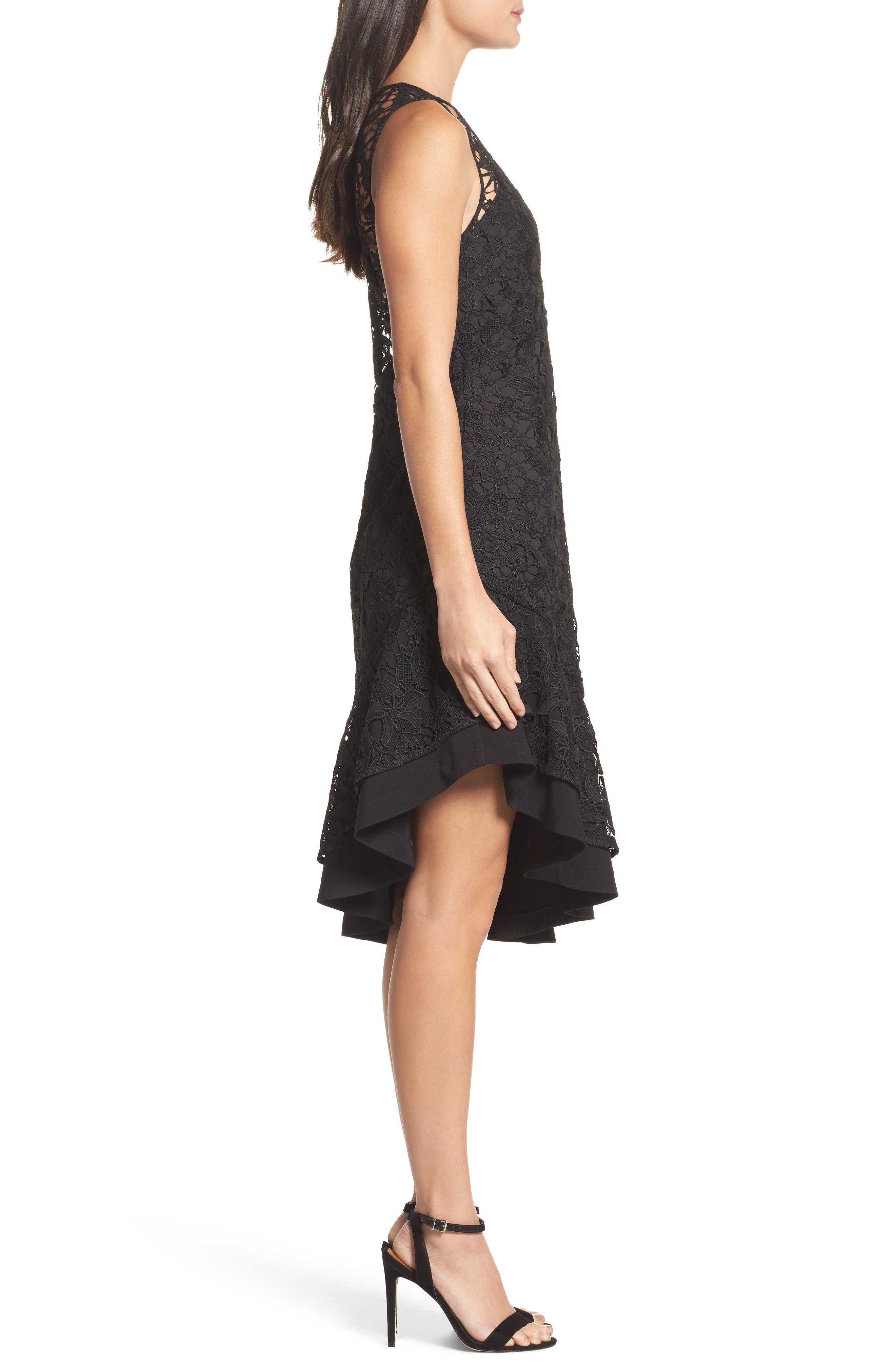 Lace Asymmetrical Dress,                             Alternate thumbnail 3, color,                             001