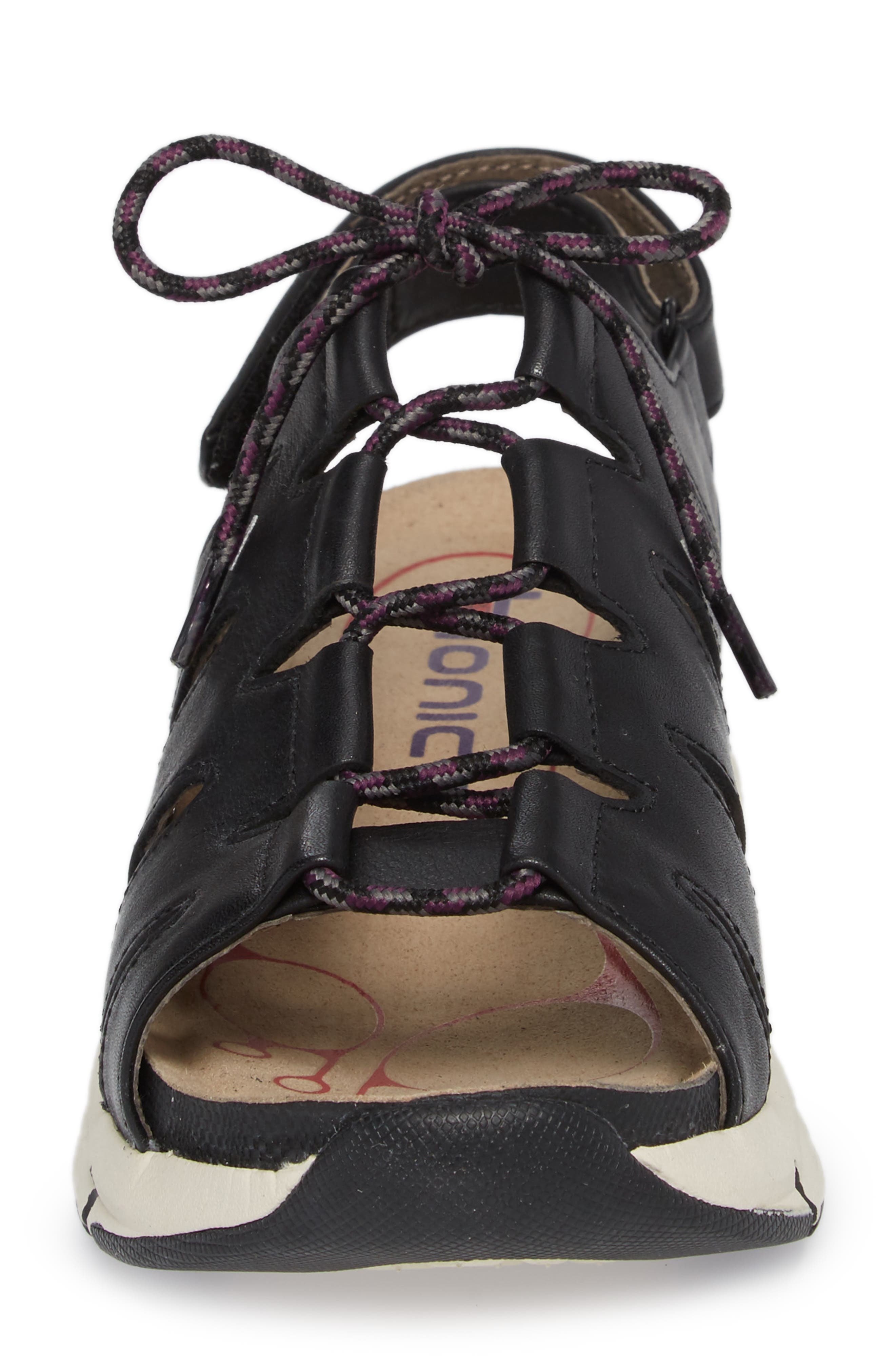 BIONICA,                             Olanda Ghillie Slingback Sandal,                             Alternate thumbnail 4, color,                             BLACK LEATHER