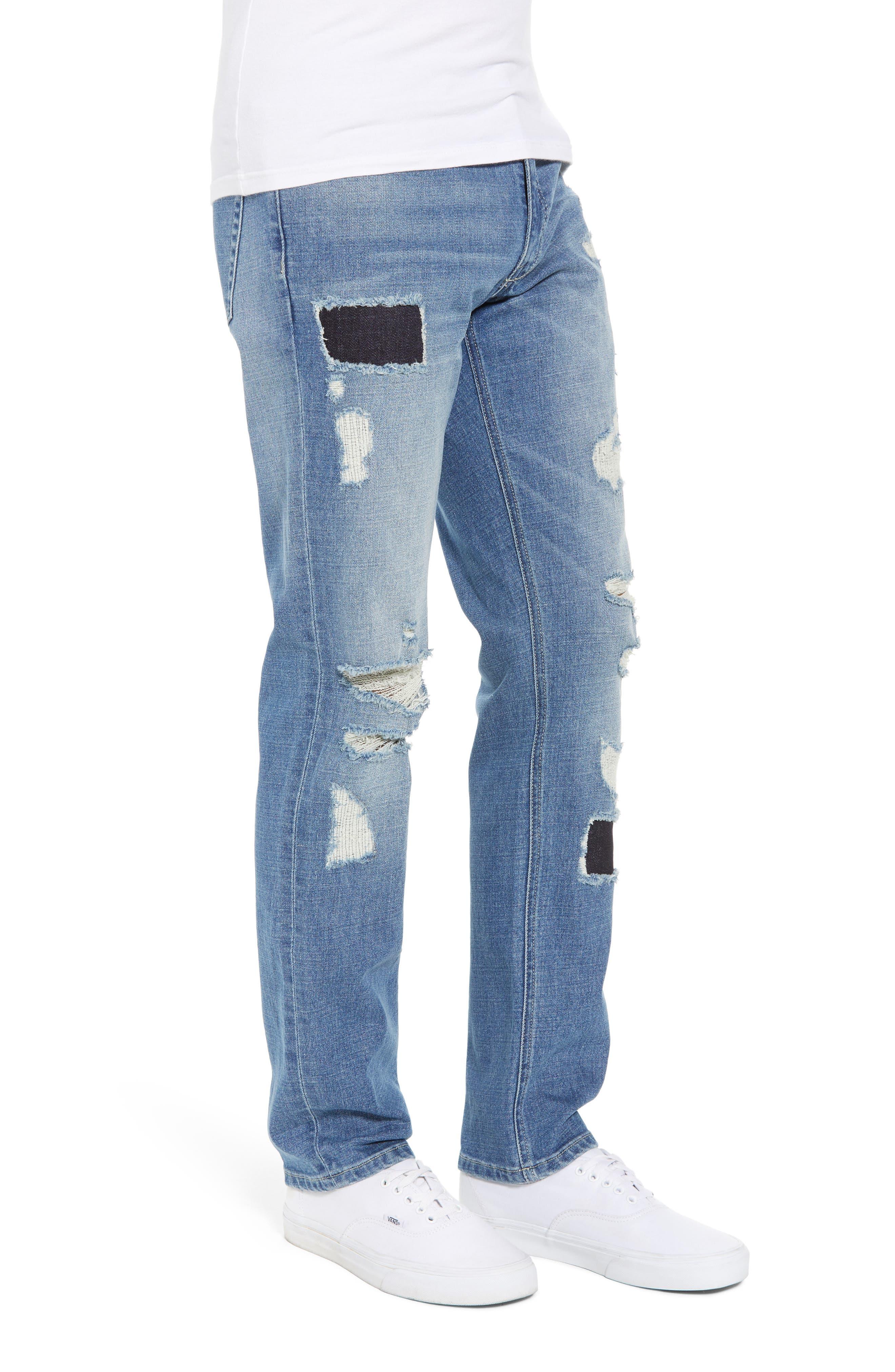 Rip & Repair Stretch Slim Jeans,                             Alternate thumbnail 3, color,                             BLUE HETFIELD WASH