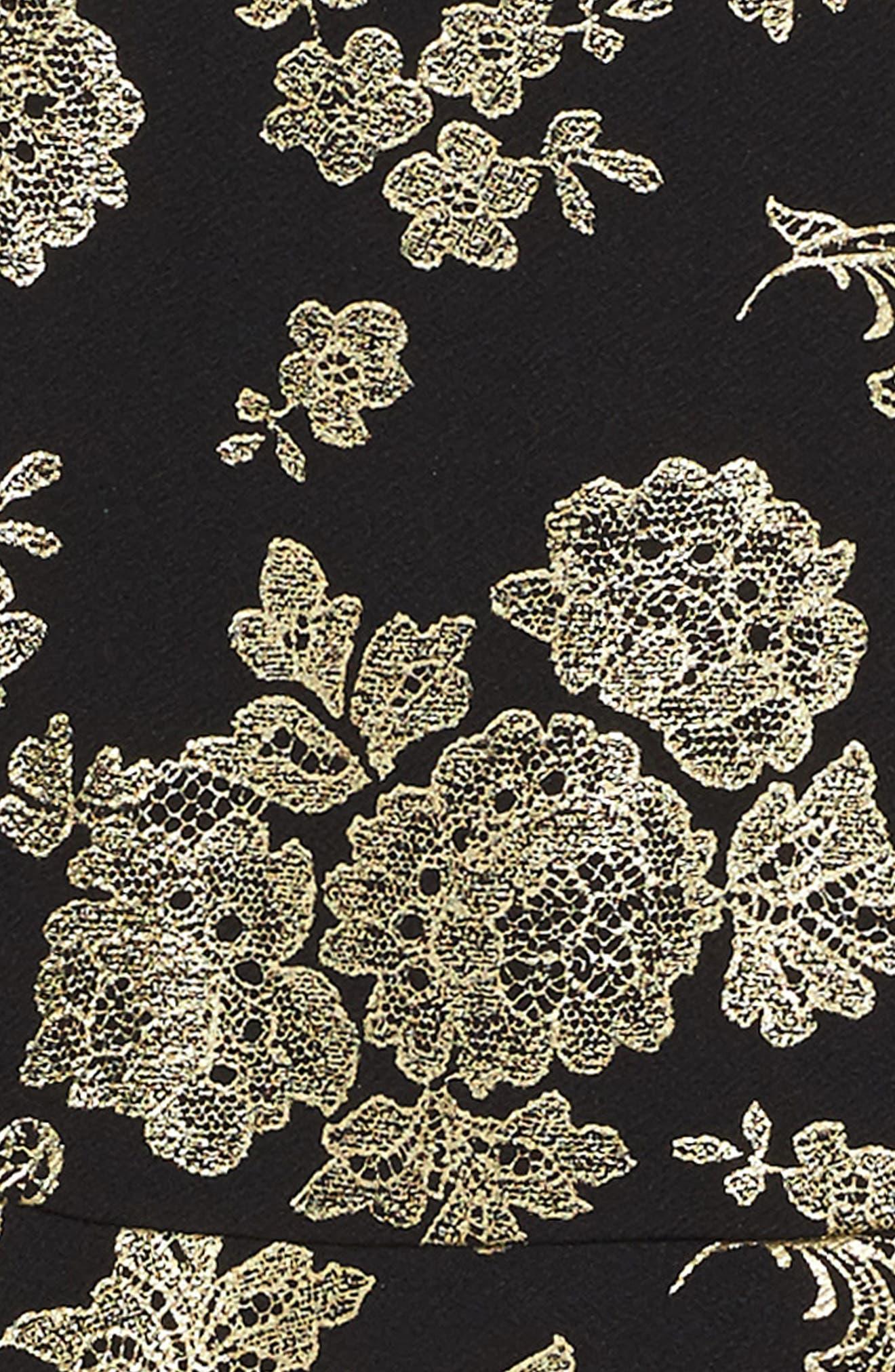 Foil Print Skater Dress,                             Alternate thumbnail 3, color,                             001