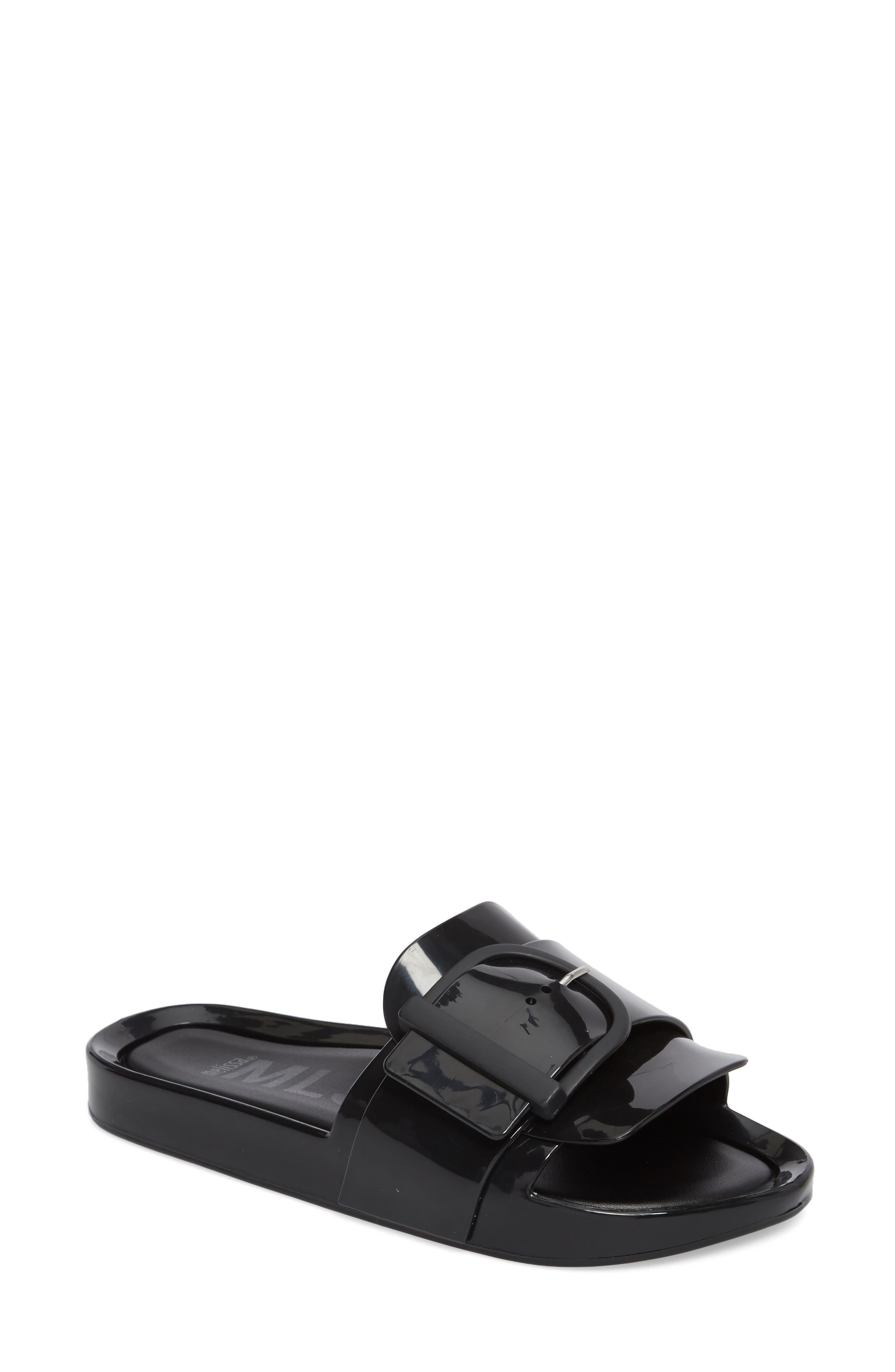 Beach Slide Sandal,                         Main,                         color, BLACK
