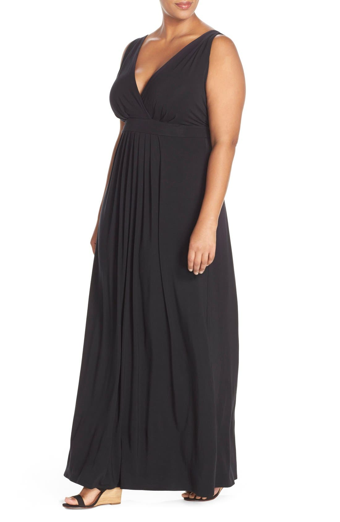 Chloe Empire Waist Maxi Dress,                             Alternate thumbnail 4, color,                             001