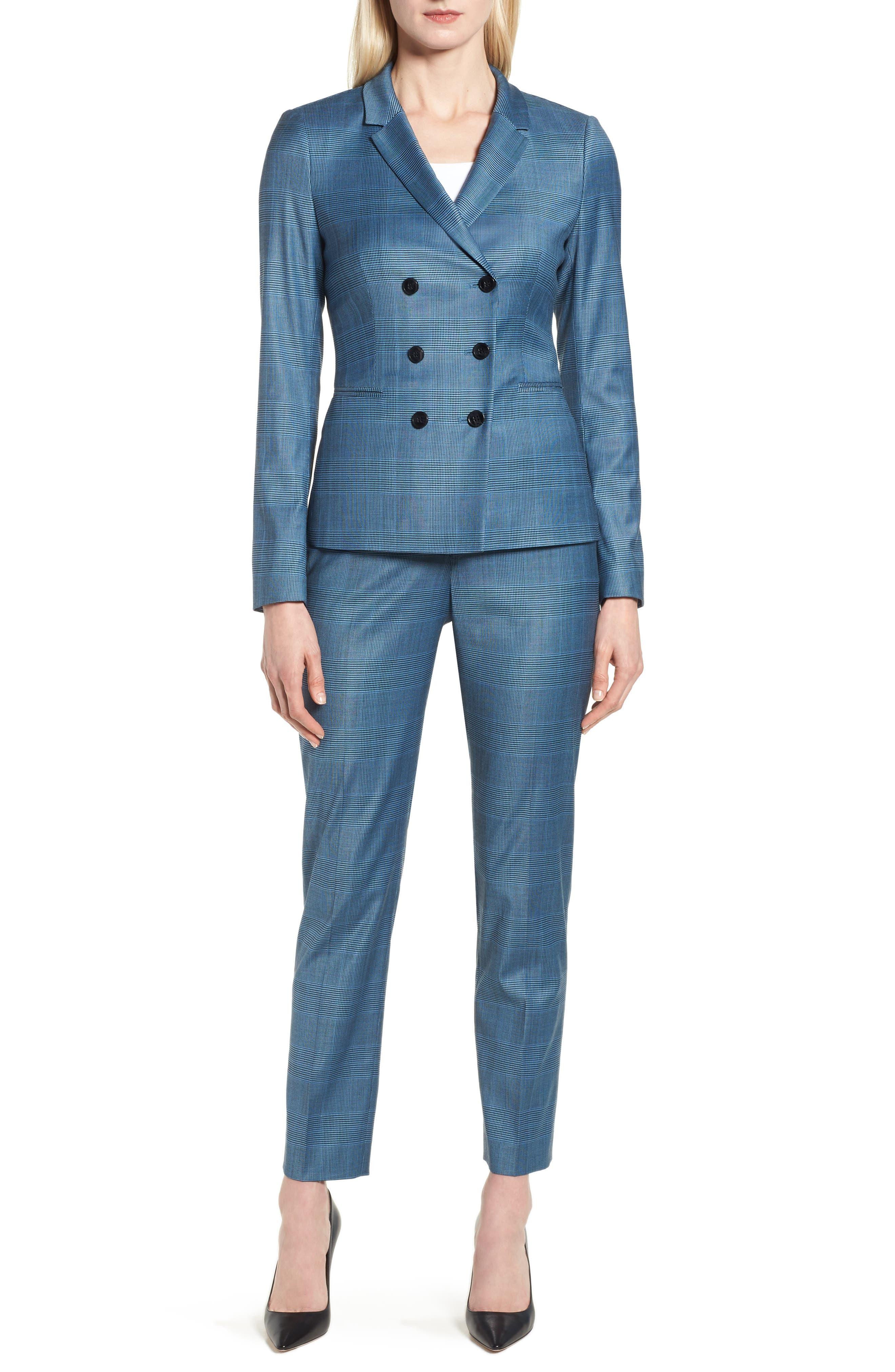 Jelaya Glencheck Double Breasted Suit Jacket,                             Alternate thumbnail 7, color,                             467