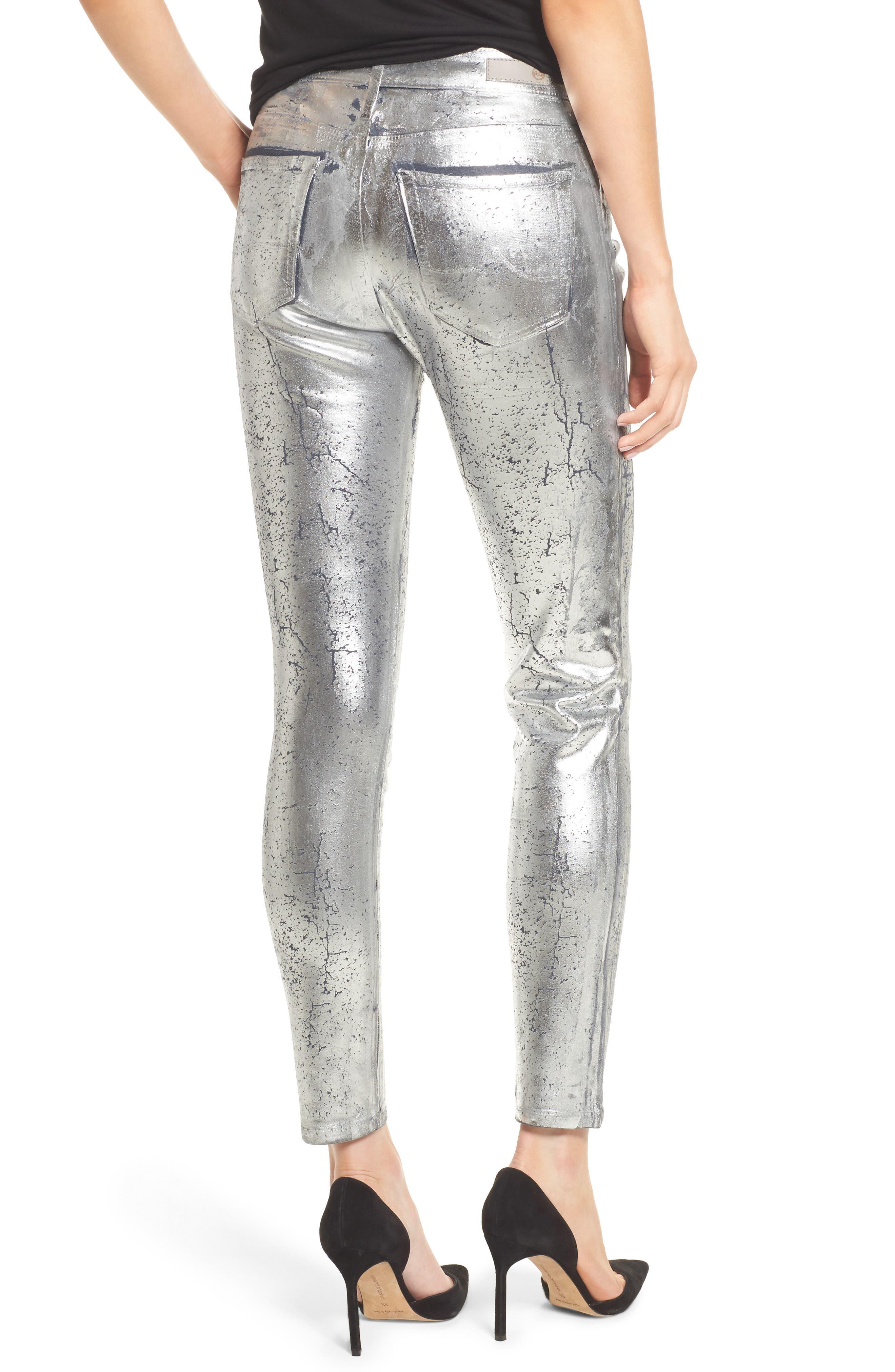 AG,                             Farrah High Waist Ankle Skinny Jeans,                             Alternate thumbnail 2, color,                             ICED SILVER